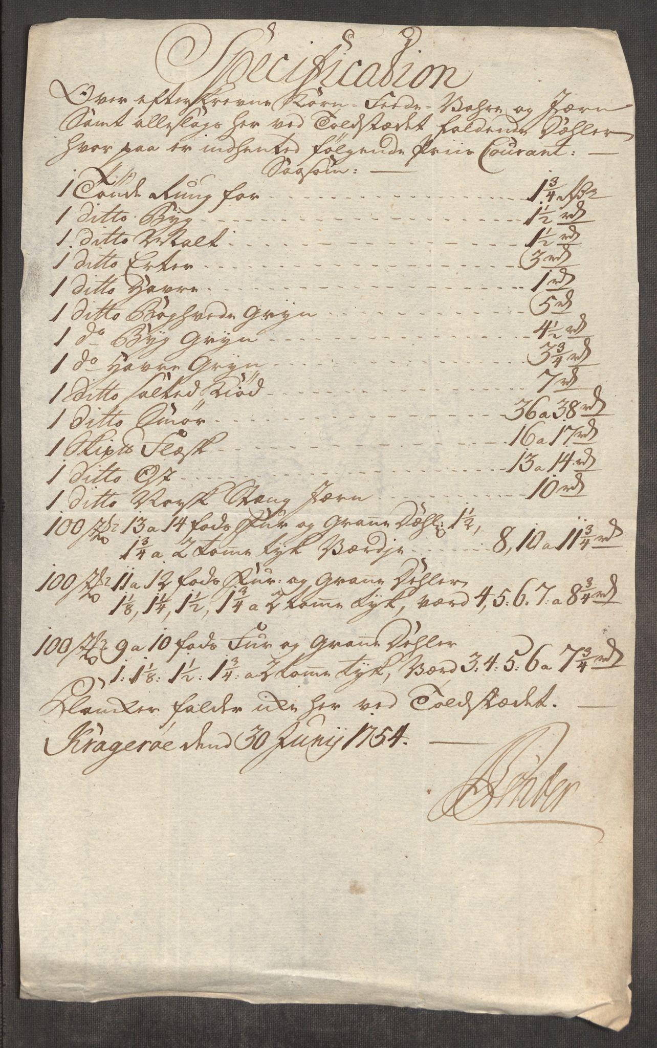 RA, Rentekammeret inntil 1814, Realistisk ordnet avdeling, Oe/L0005: [Ø1]: Priskuranter, 1753-1757, s. 282