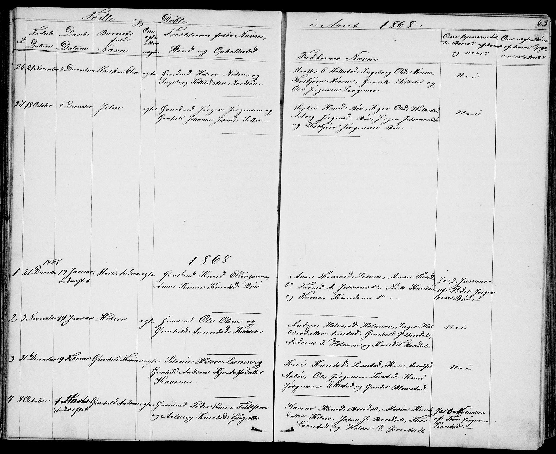 SAKO, Drangedal kirkebøker, G/Gb/L0001: Klokkerbok nr. II 1, 1856-1894, s. 63