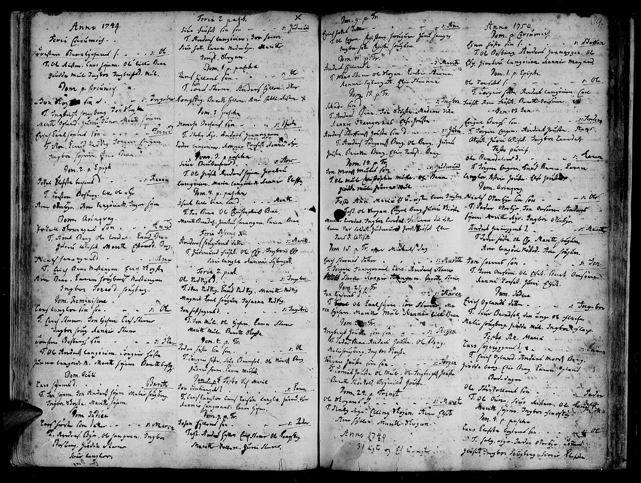 SAT, Ministerialprotokoller, klokkerbøker og fødselsregistre - Sør-Trøndelag, 612/L0368: Ministerialbok nr. 612A02, 1702-1753, s. 39