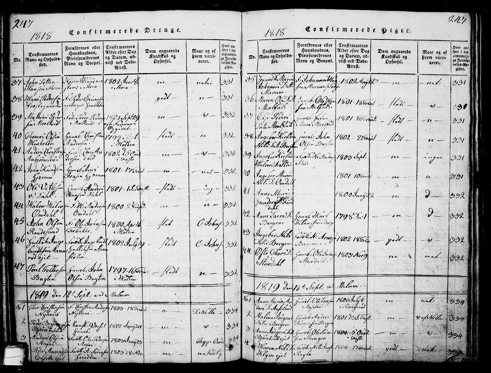 SAKO, Solum kirkebøker, G/Ga/L0001: Klokkerbok nr. I 1, 1814-1833, s. 247