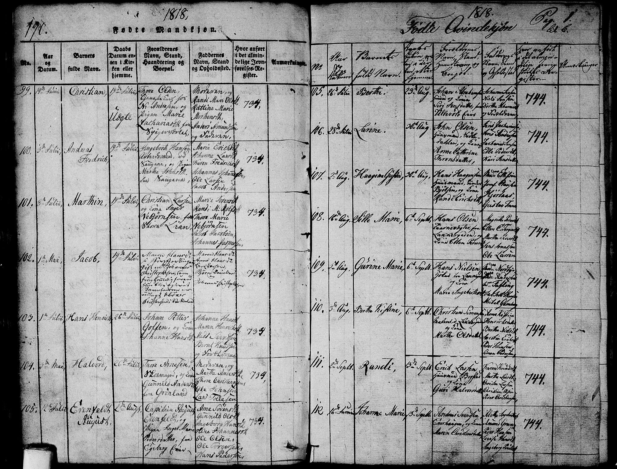 SAO, Aker prestekontor kirkebøker, G/L0002: Klokkerbok nr. 2, 1815-1819, s. 190a-190b
