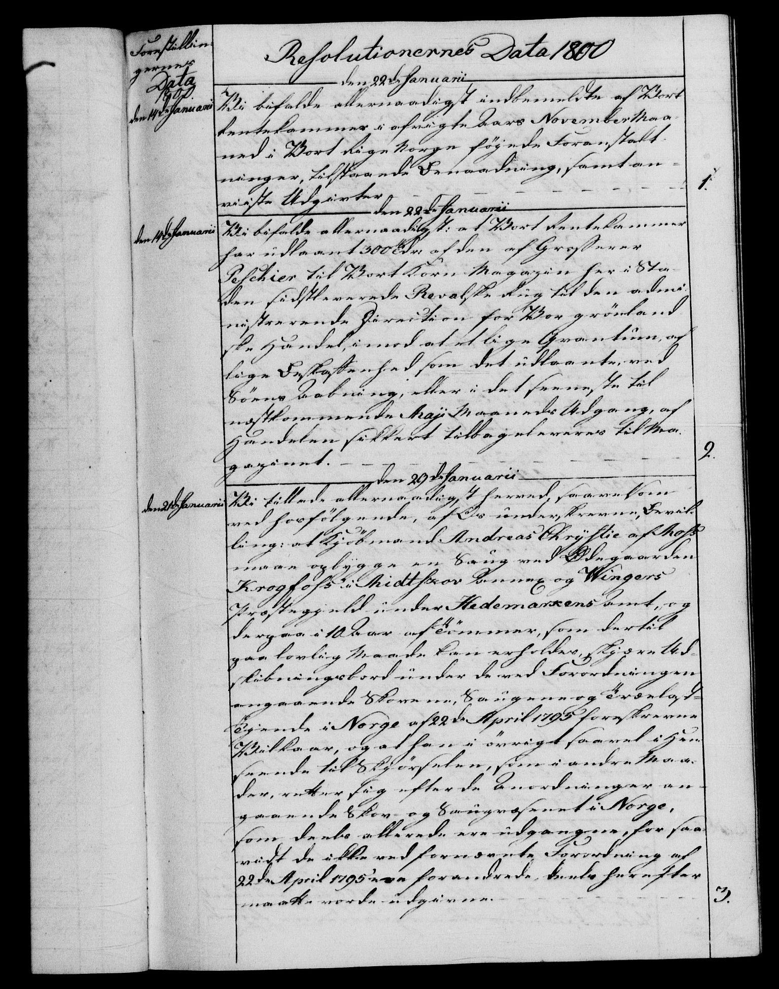 RA, Rentekammeret, Kammerkanselliet, G/Gf/Gfb/L0015: Register til norske relasjons- og resolusjonsprotokoller (merket RK 52.110), 1799-1800, s. upaginert