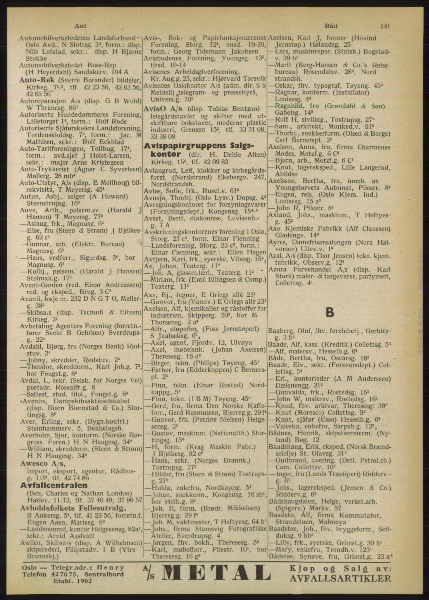 RA, Oslo adressebok (publikasjon)*, 1950, s. 141