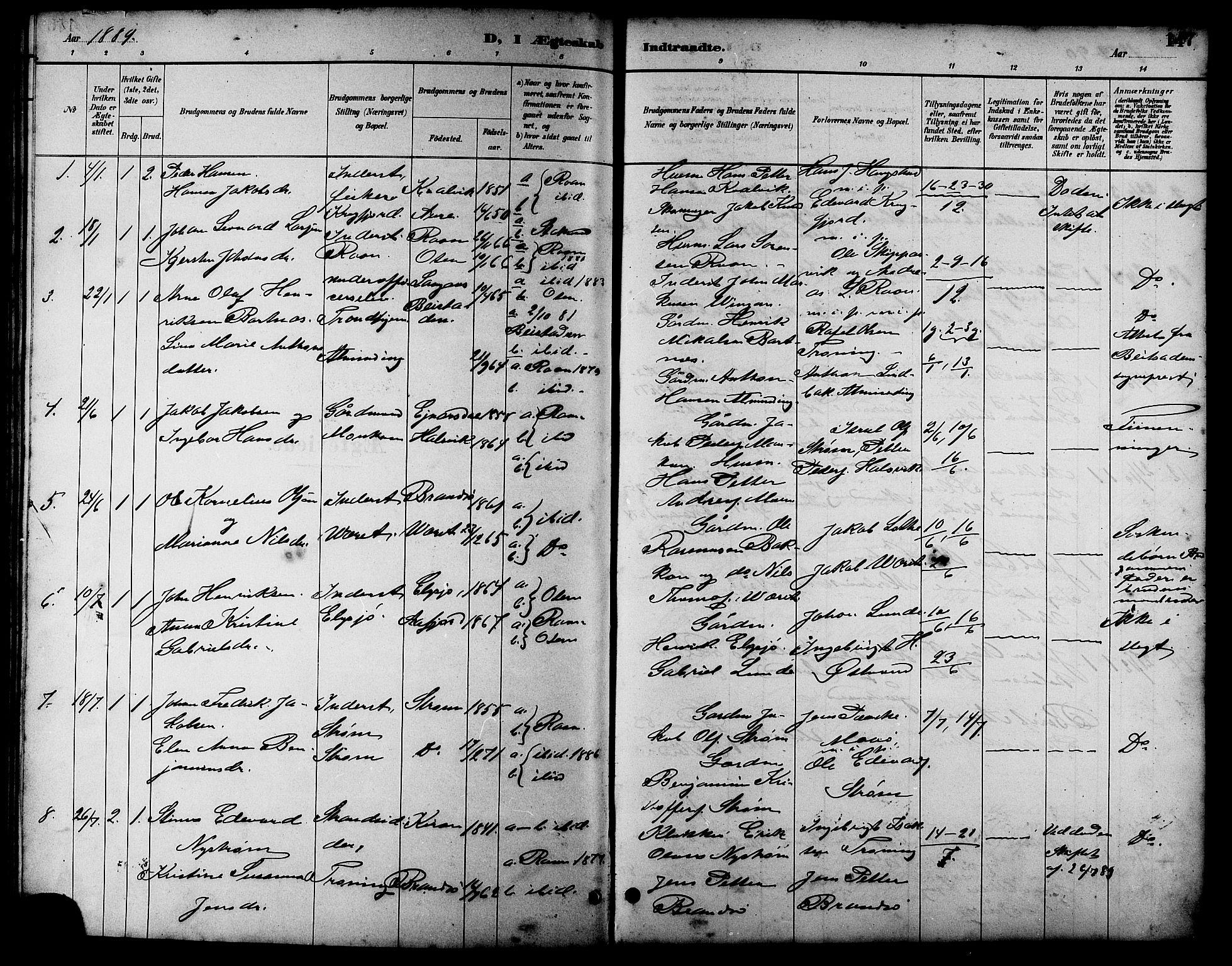 SAT, Ministerialprotokoller, klokkerbøker og fødselsregistre - Sør-Trøndelag, 657/L0716: Klokkerbok nr. 657C03, 1889-1904, s. 147