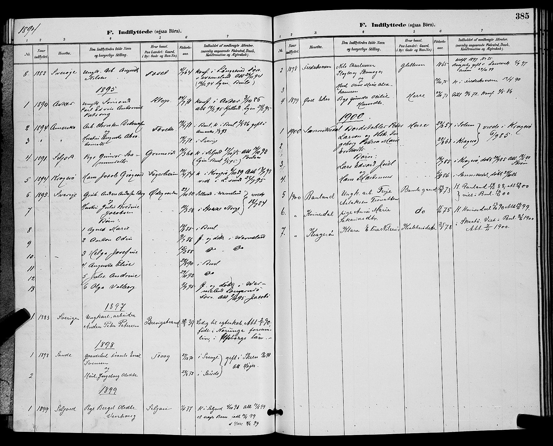 SAKO, Bamble kirkebøker, G/Ga/L0009: Klokkerbok nr. I 9, 1888-1900, s. 385