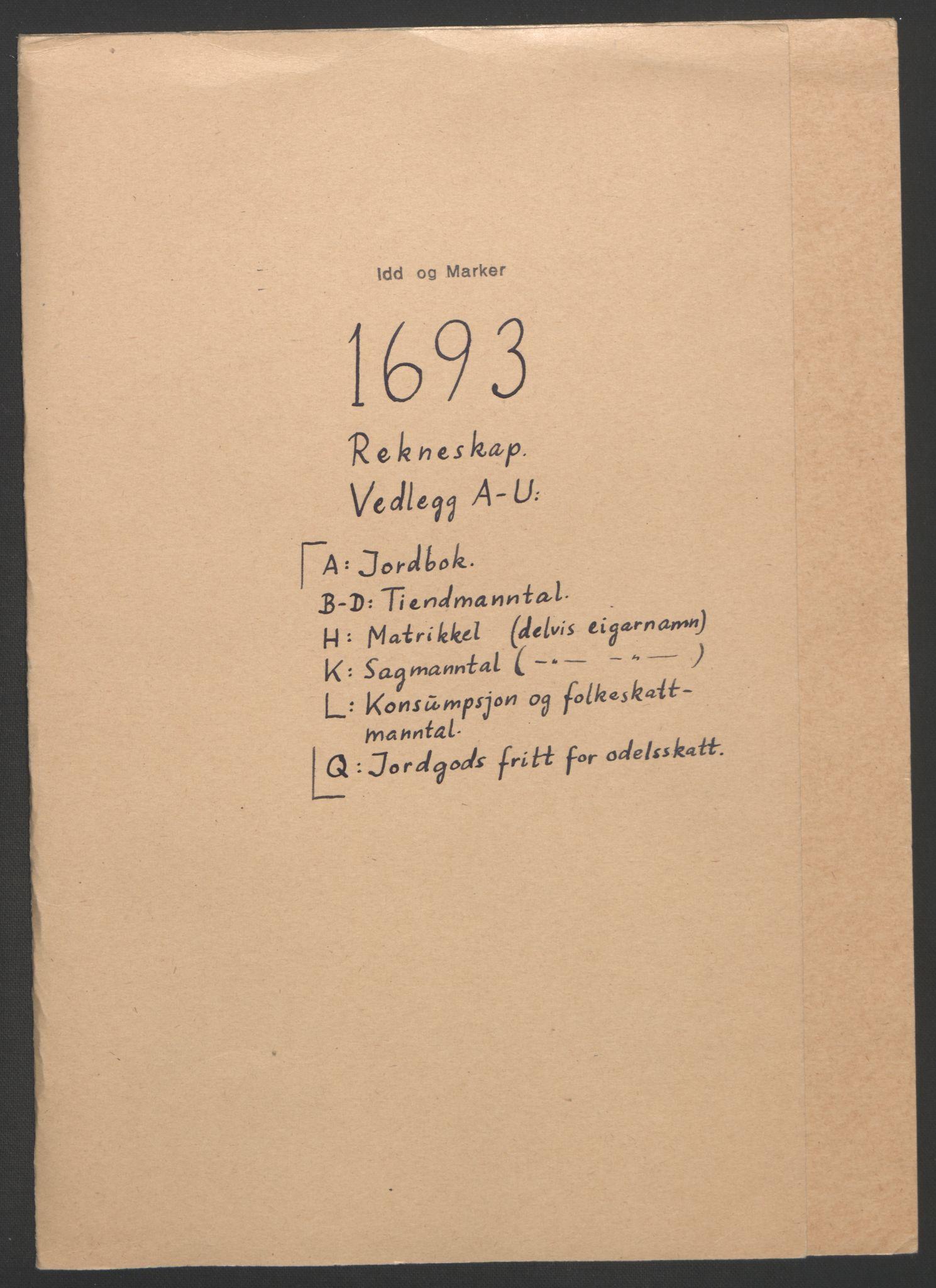 RA, Rentekammeret inntil 1814, Reviderte regnskaper, Fogderegnskap, R01/L0011: Fogderegnskap Idd og Marker, 1692-1693, s. 192
