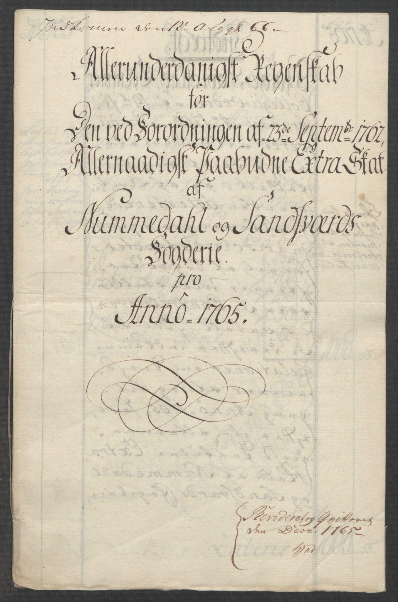 RA, Rentekammeret inntil 1814, Reviderte regnskaper, Fogderegnskap, R24/L1672: Ekstraskatten Numedal og Sandsvær, 1762-1767, s. 256