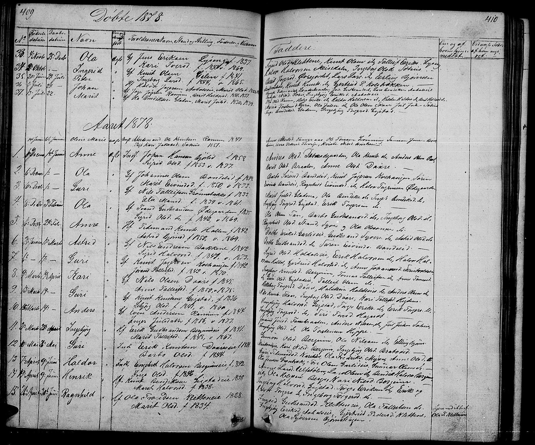 SAH, Nord-Aurdal prestekontor, Klokkerbok nr. 1, 1834-1887, s. 409-410