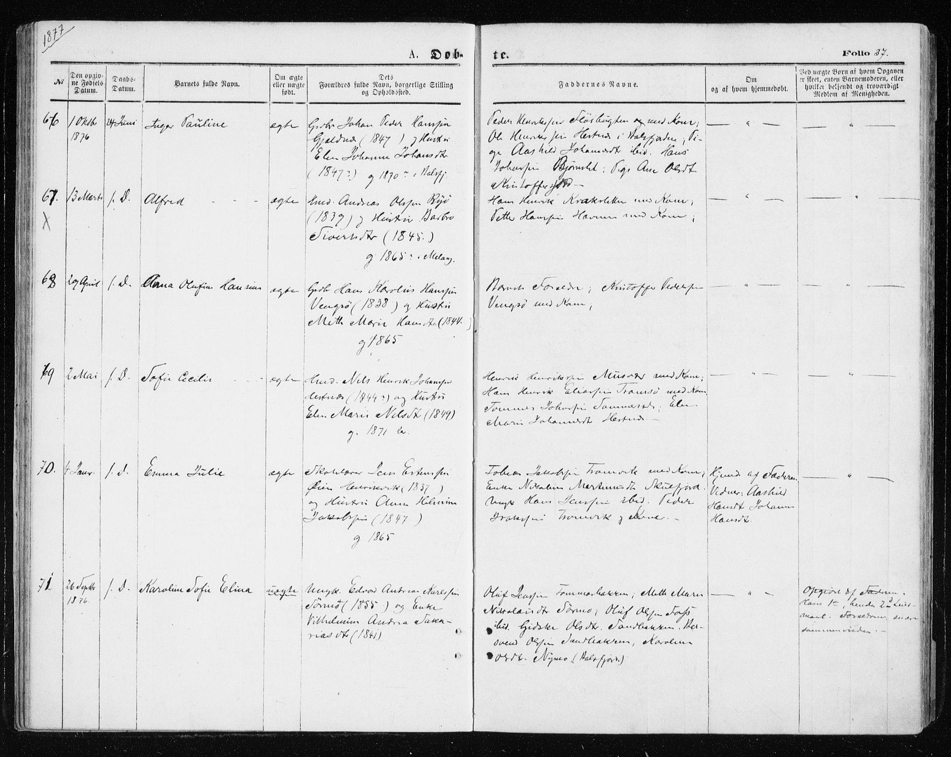 SATØ, Tromsøysund sokneprestkontor, G/Ga/L0003kirke: Ministerialbok nr. 3, 1875-1880, s. 37