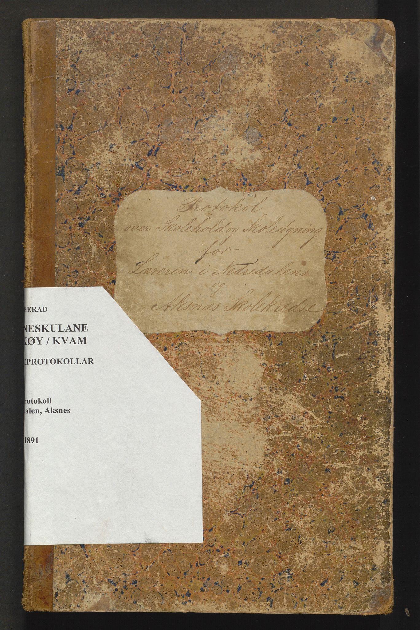 IKAH, Kvam herad. Barneskulane, F/Fa/L0006: Skuleprotokoll for Nedredalen og Aksnes krinsar, 1878-1891
