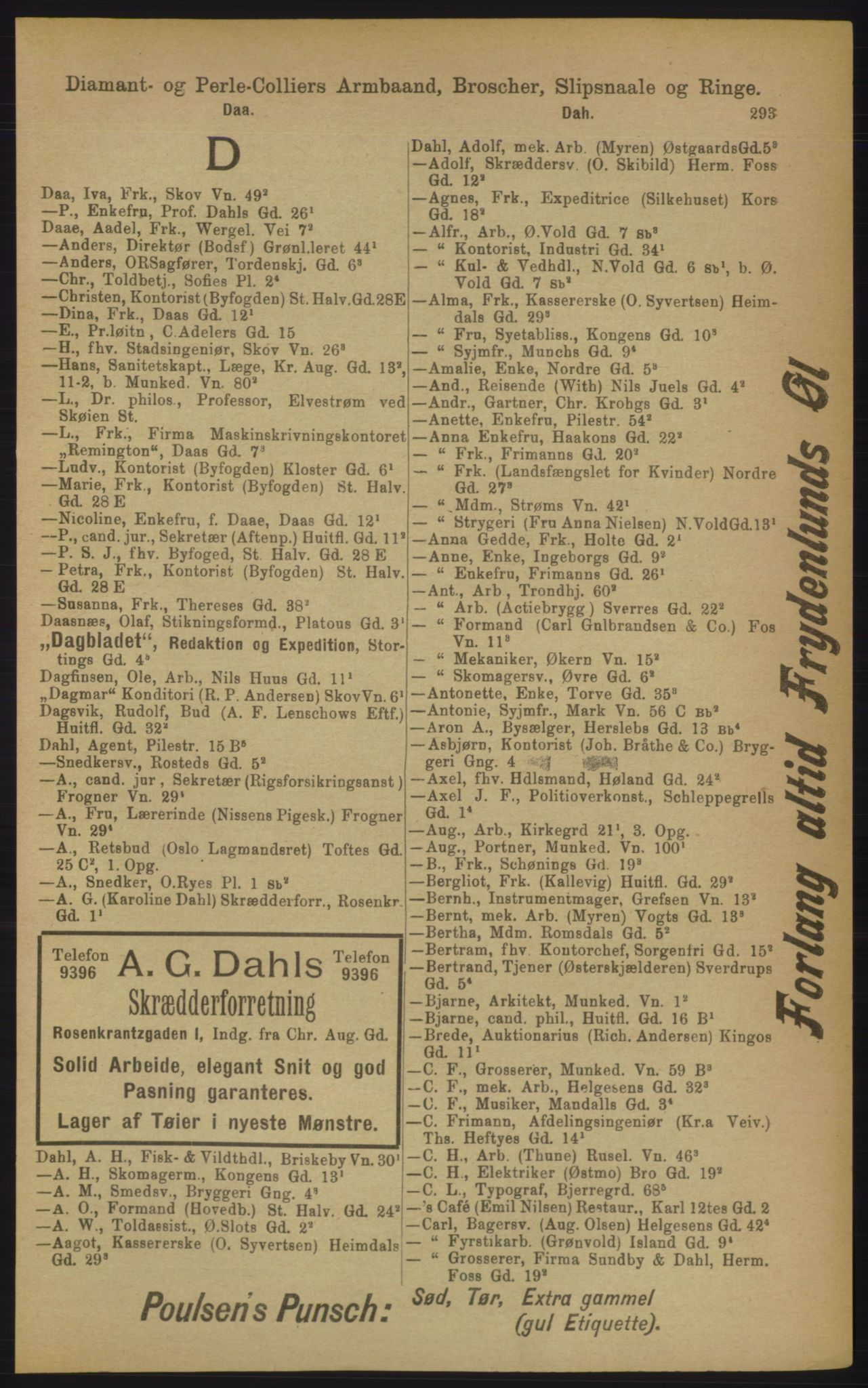 RA, Kristiania adressebok (publikasjon)*, 1906, s. 293
