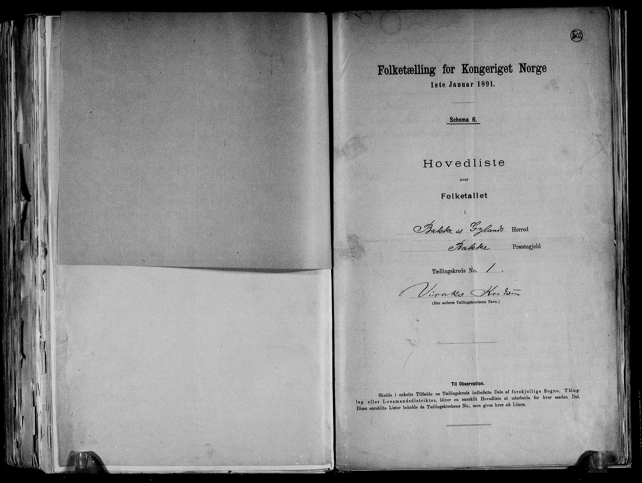 RA, Folketelling 1891 for 1045 Bakke herred, 1891, s. 5