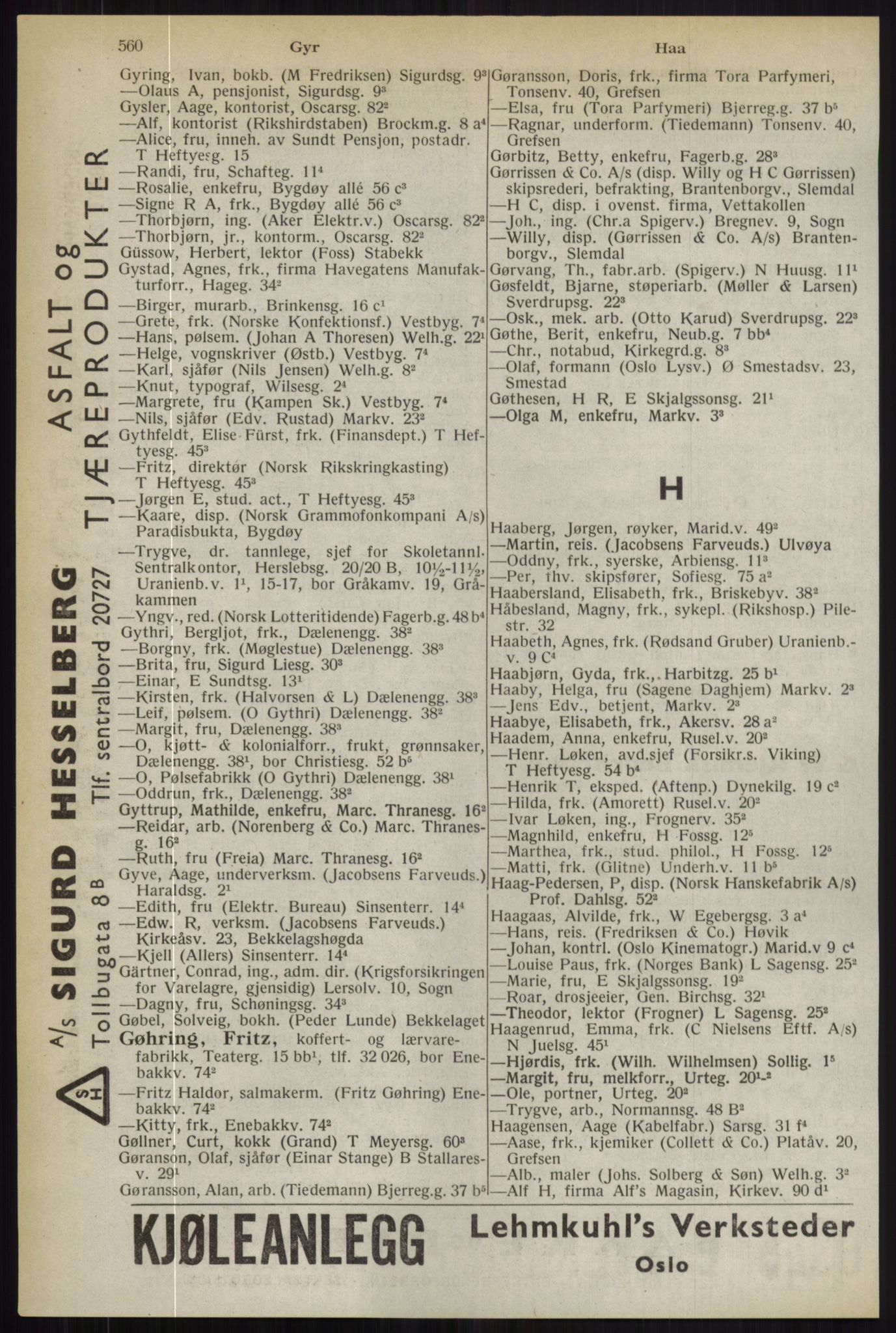 RA, Oslo adressebok (publikasjon)*, 1944, s. 560