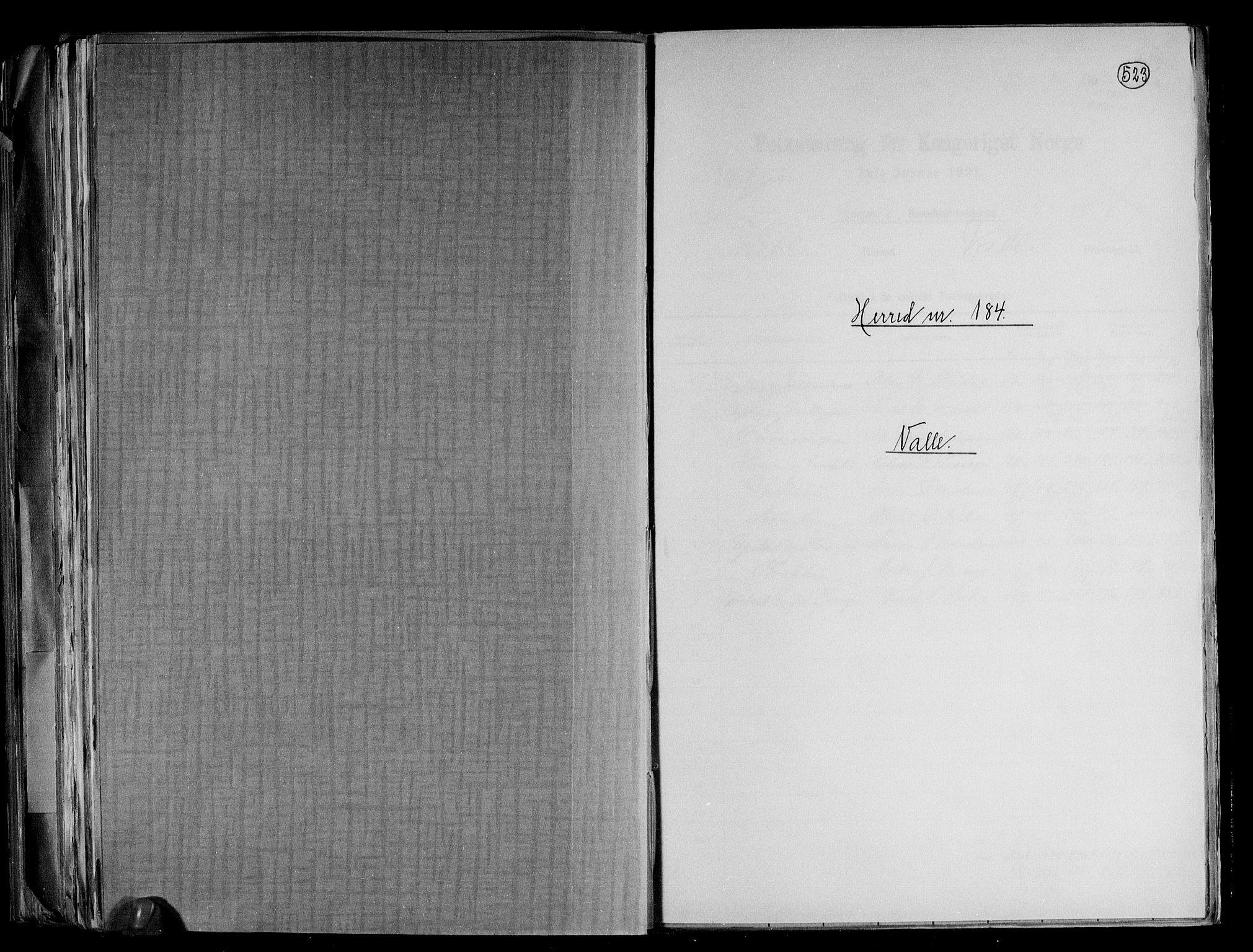 RA, Folketelling 1891 for 0940 Valle herred, 1891, s. 1