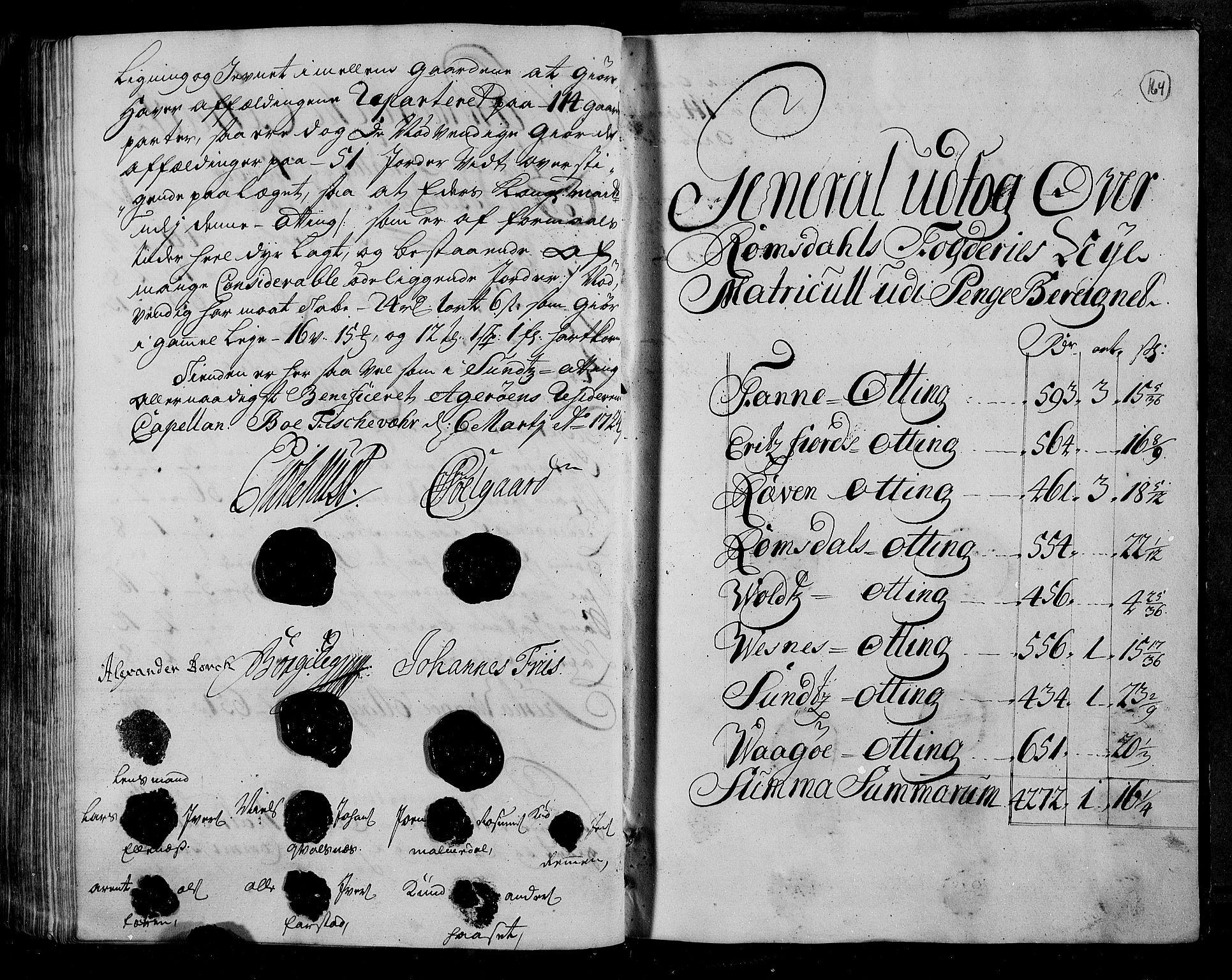 RA, Rentekammeret inntil 1814, Realistisk ordnet avdeling, N/Nb/Nbf/L0153: Romsdal matrikkelprotokoll, 1724, s. 163b-164a