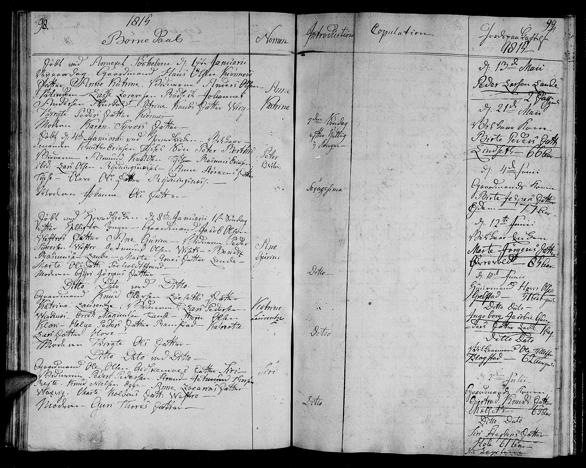 SAT, Ministerialprotokoller, klokkerbøker og fødselsregistre - Møre og Romsdal, 522/L0309: Ministerialbok nr. 522A04, 1810-1816, s. 98-99