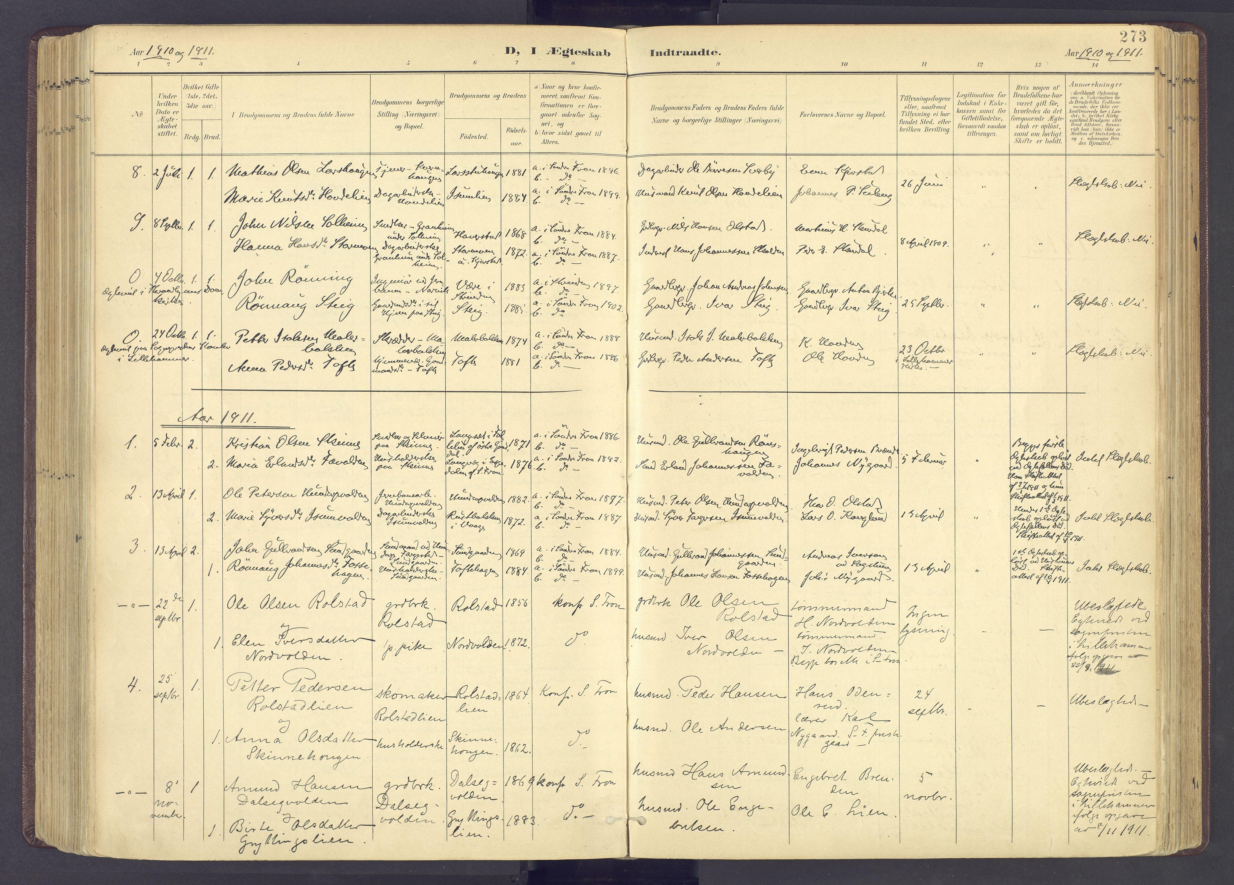 SAH, Sør-Fron prestekontor, H/Ha/Haa/L0004: Ministerialbok nr. 4, 1898-1919, s. 273