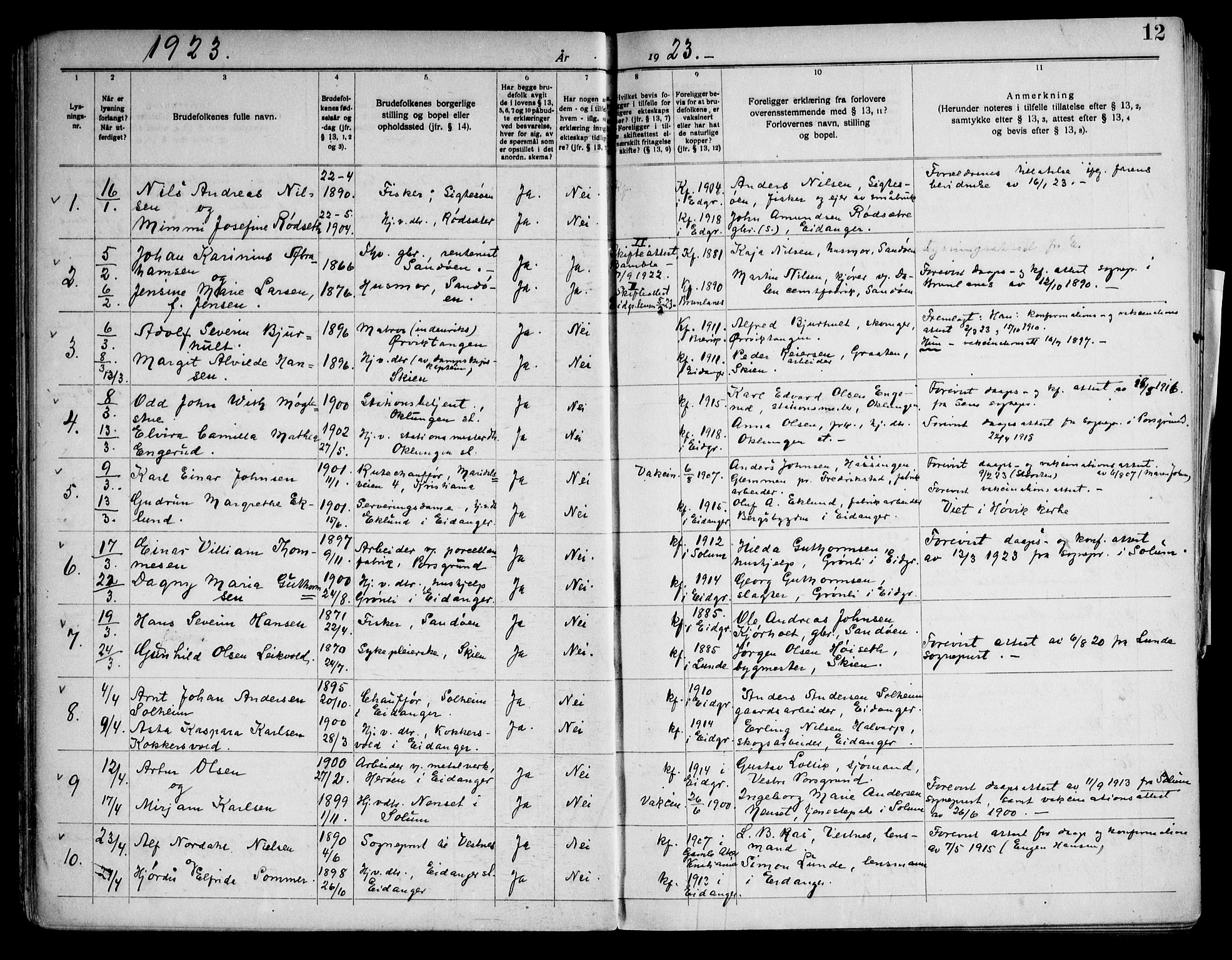 SAKO, Eidanger kirkebøker, H/Ha/L0003: Lysningsprotokoll nr. 3, 1919-1948, s. 12