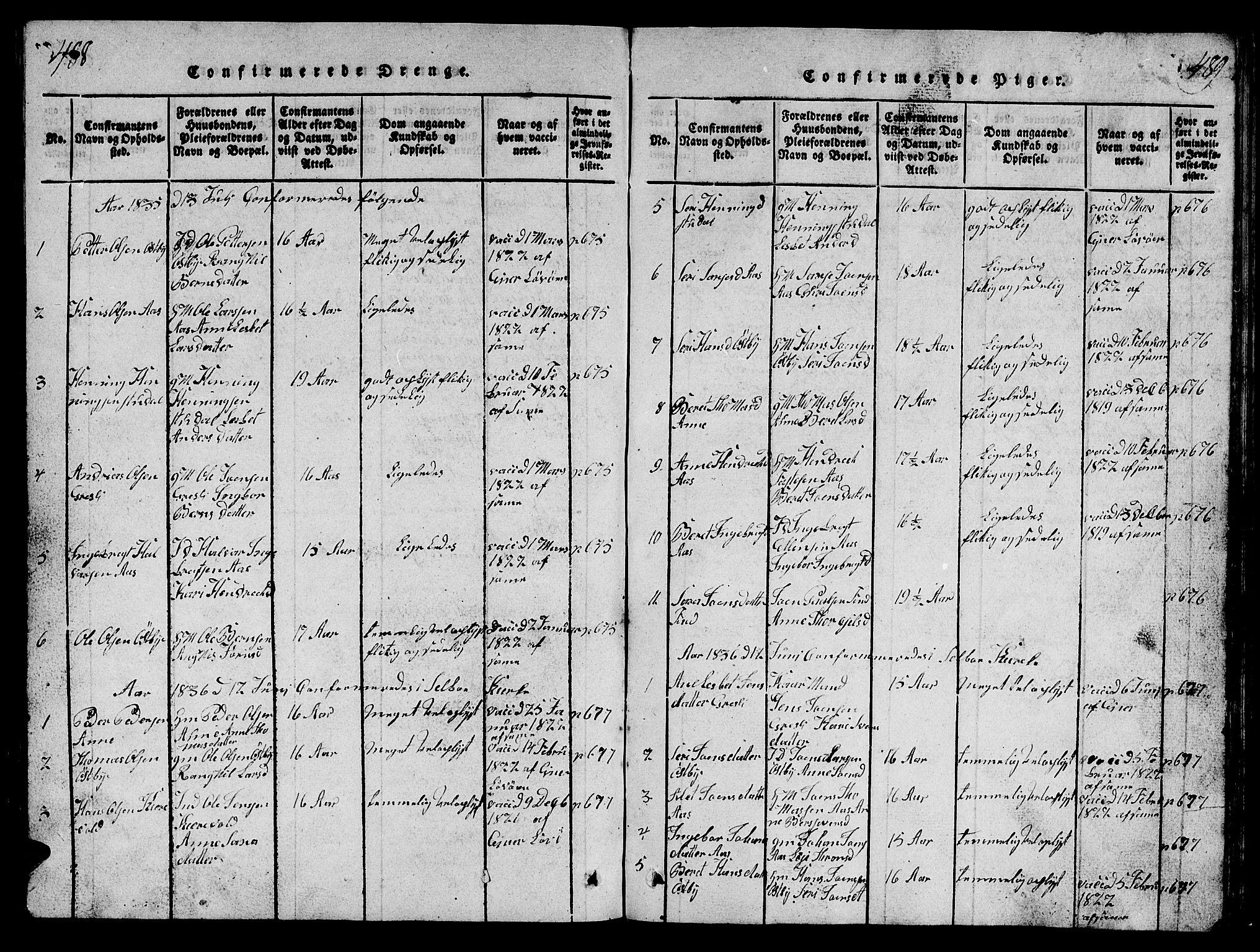 SAT, Ministerialprotokoller, klokkerbøker og fødselsregistre - Sør-Trøndelag, 698/L1164: Klokkerbok nr. 698C01, 1816-1861, s. 488-489
