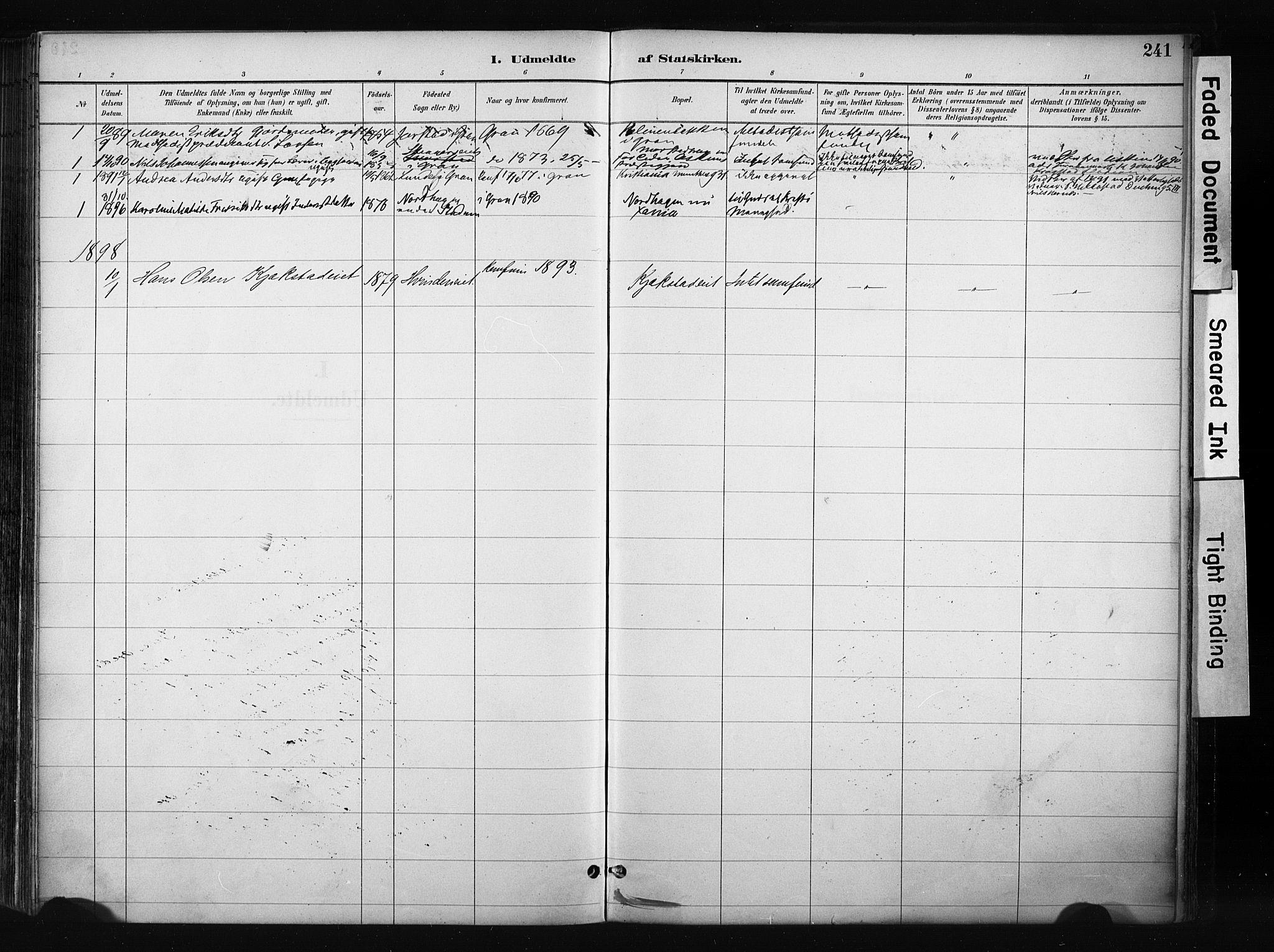 SAH, Gran prestekontor, Ministerialbok nr. 17, 1889-1897, s. 241