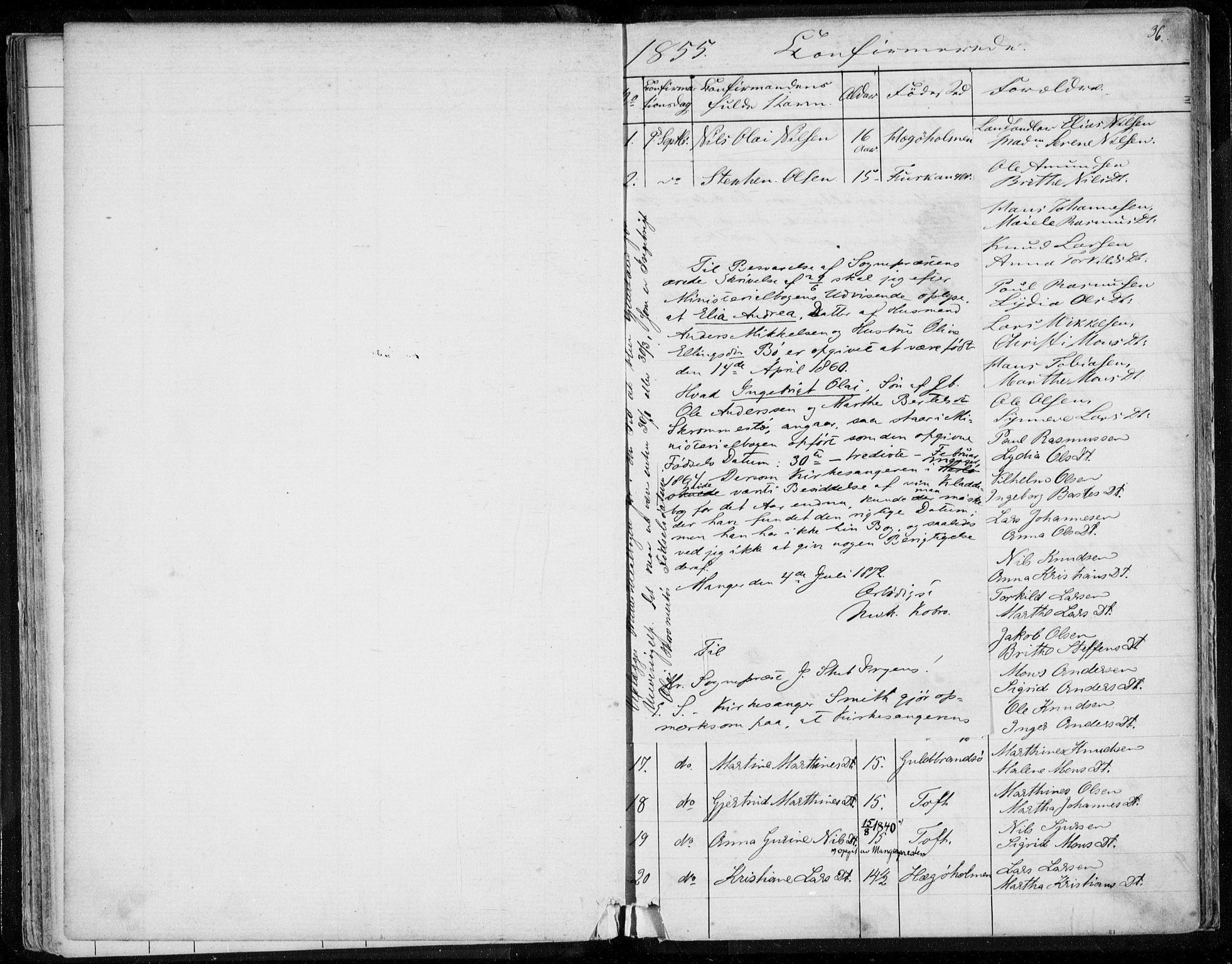 SAB, Herdla Sokneprestembete, H/Haa: Ministerialbok nr. A 1, 1855-1869, s. 36