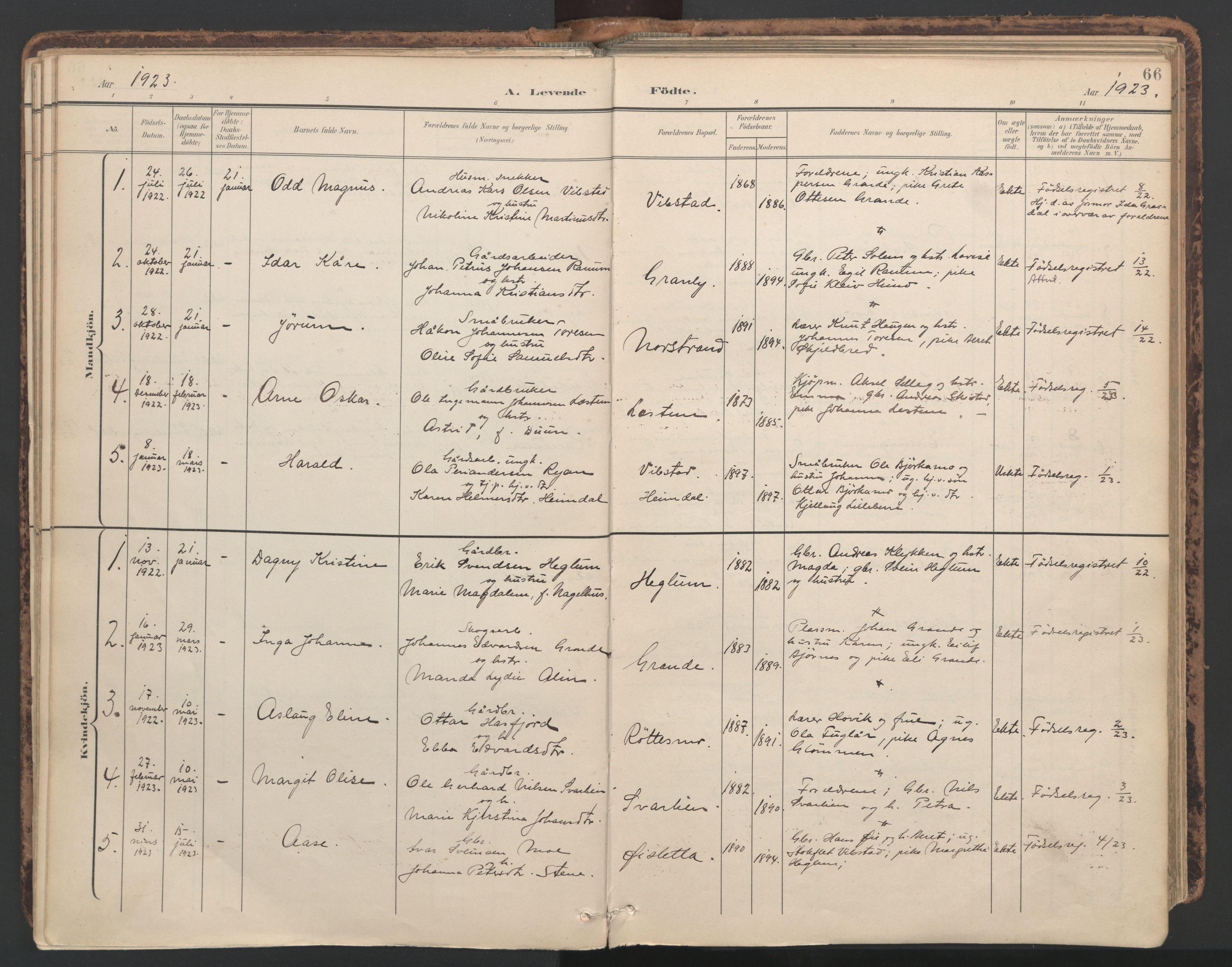SAT, Ministerialprotokoller, klokkerbøker og fødselsregistre - Nord-Trøndelag, 764/L0556: Ministerialbok nr. 764A11, 1897-1924, s. 66