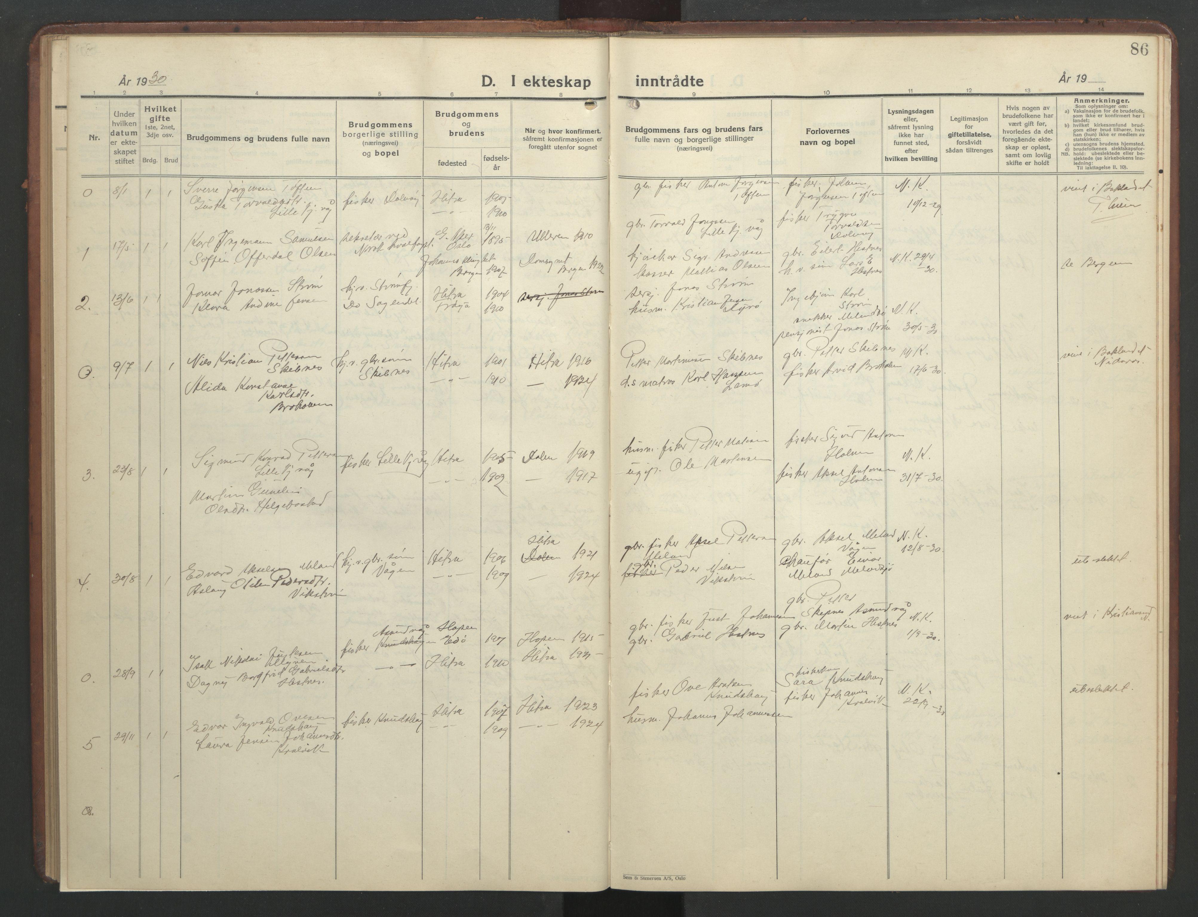 SAT, Ministerialprotokoller, klokkerbøker og fødselsregistre - Sør-Trøndelag, 634/L0544: Klokkerbok nr. 634C06, 1927-1948, s. 86