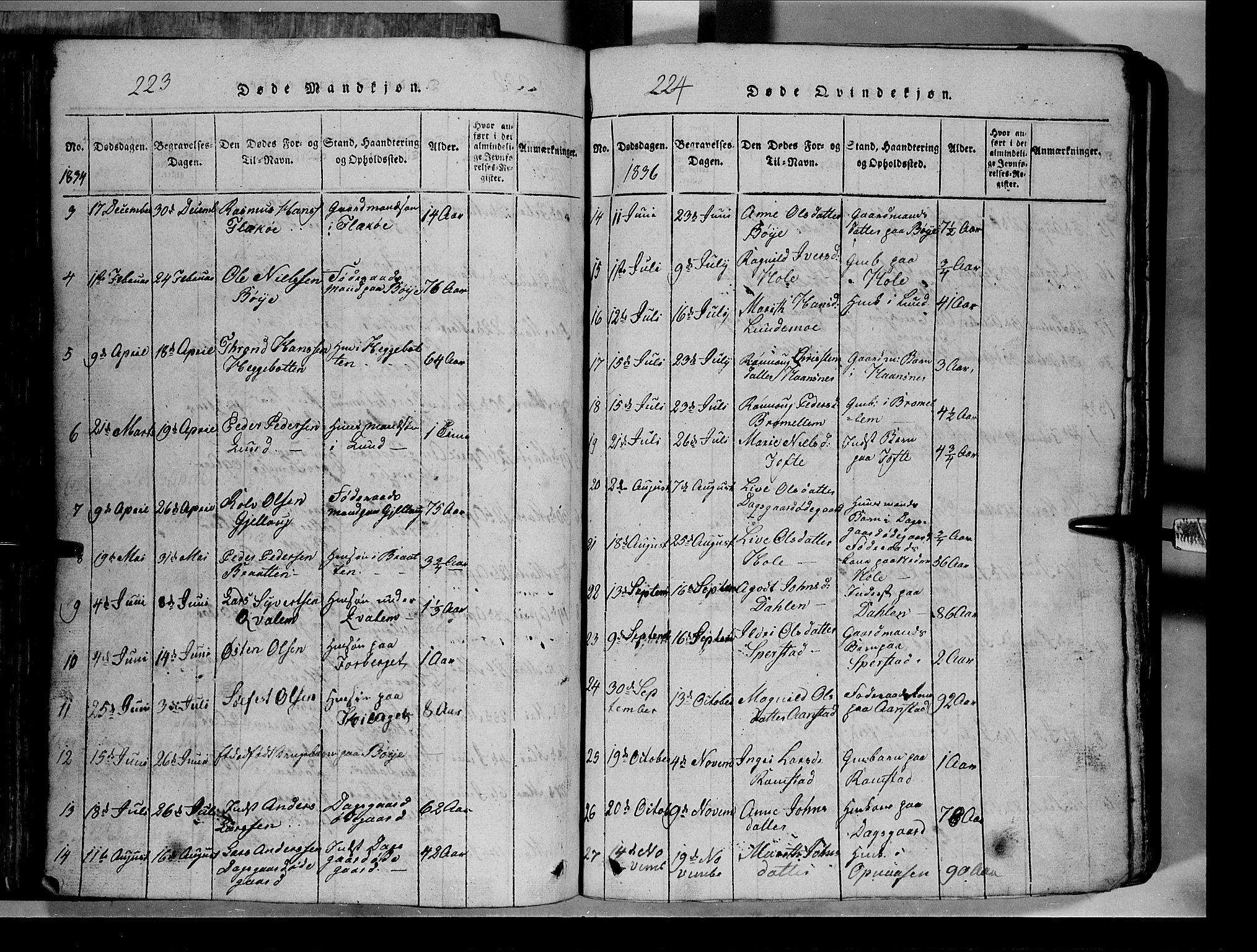 SAH, Lom prestekontor, L/L0003: Klokkerbok nr. 3, 1815-1844, s. 223-224