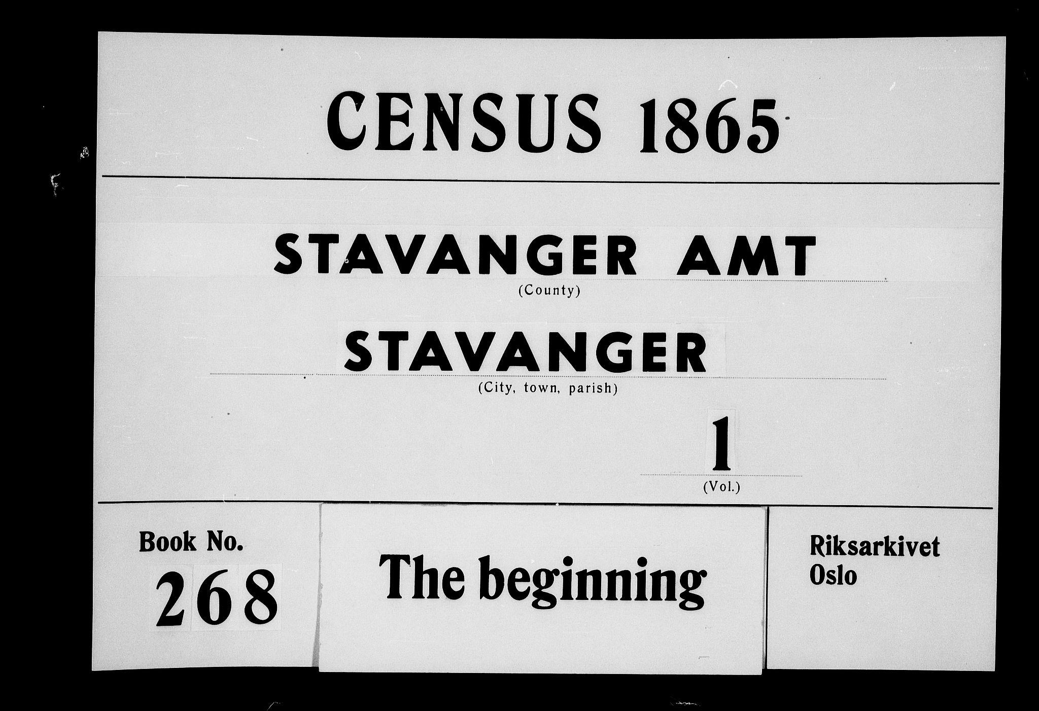 RA, Folketelling 1865 for 1103 Stavanger kjøpstad, 1865, s. 1