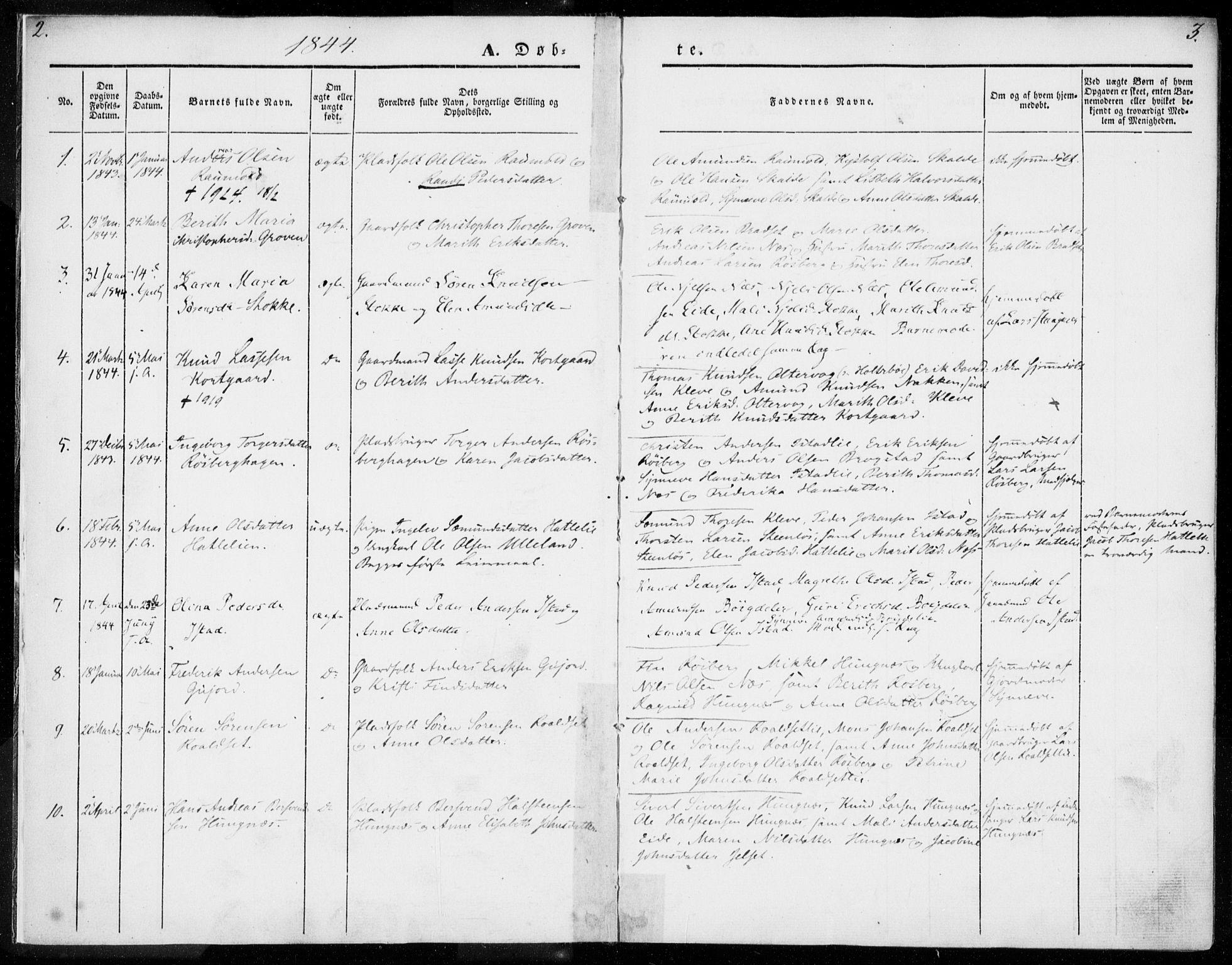 SAT, Ministerialprotokoller, klokkerbøker og fødselsregistre - Møre og Romsdal, 557/L0680: Ministerialbok nr. 557A02, 1843-1869, s. 2-3