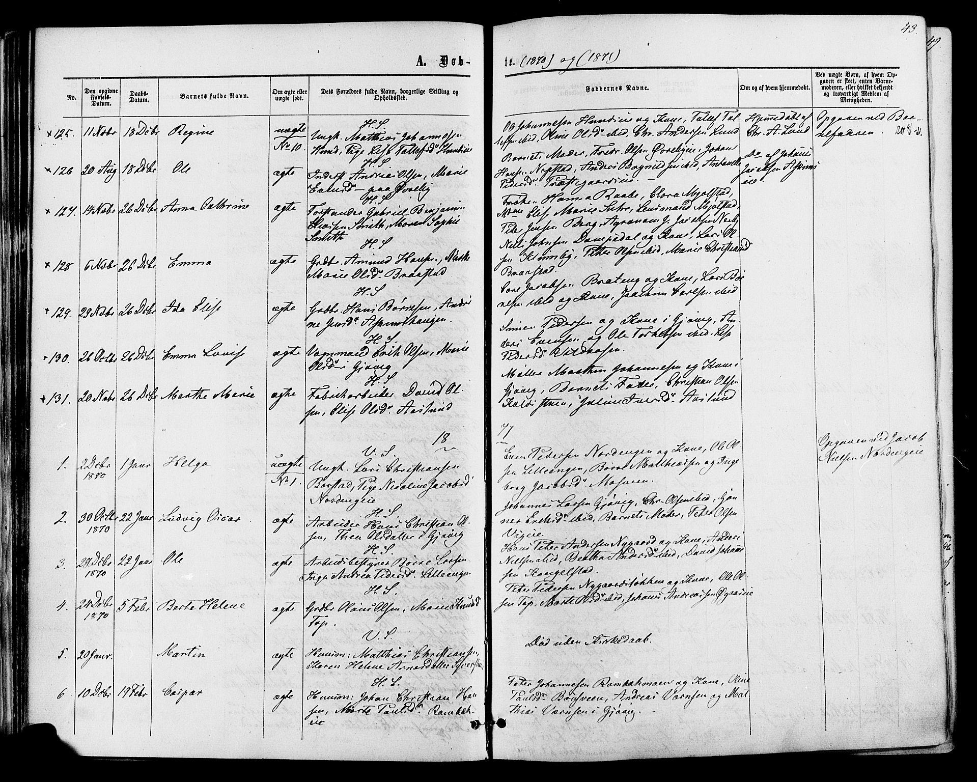 SAH, Vardal prestekontor, H/Ha/Haa/L0007: Ministerialbok nr. 7, 1867-1878, s. 43