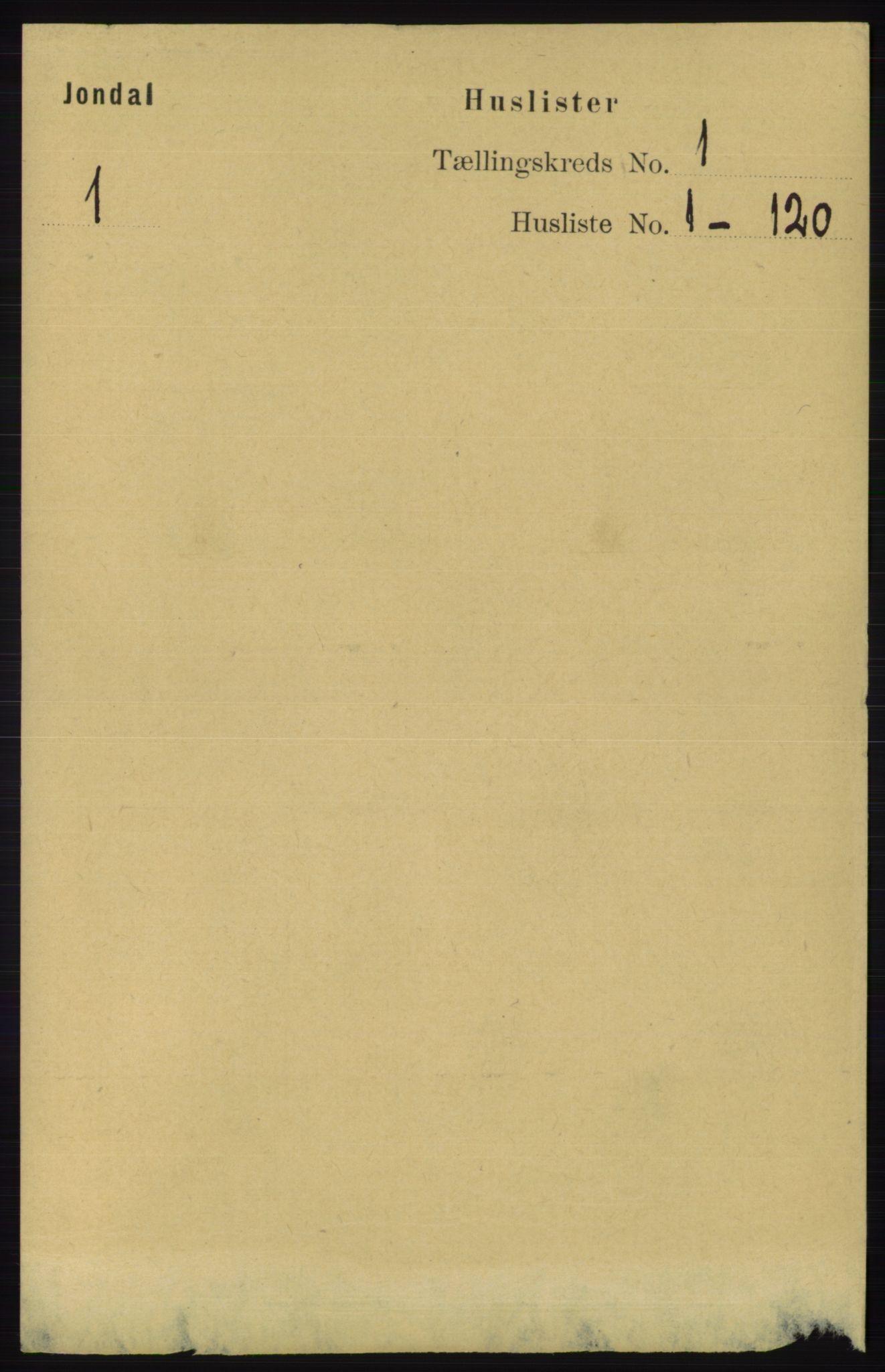 RA, Folketelling 1891 for 1227 Jondal herred, 1891, s. 16