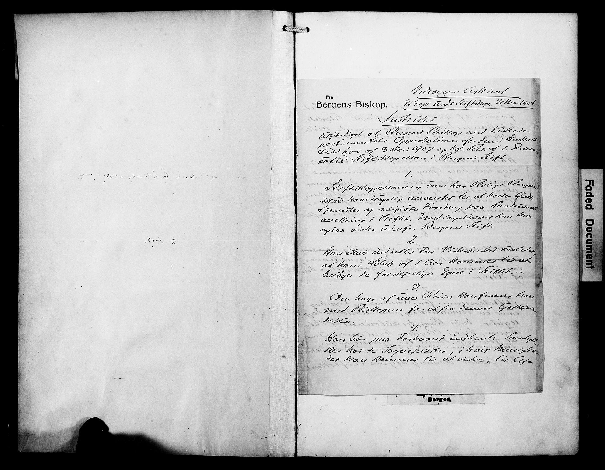 SAB, Arkivreferanse mangler*, Ministerialbok nr. A 1, 1907-1928, s. 1
