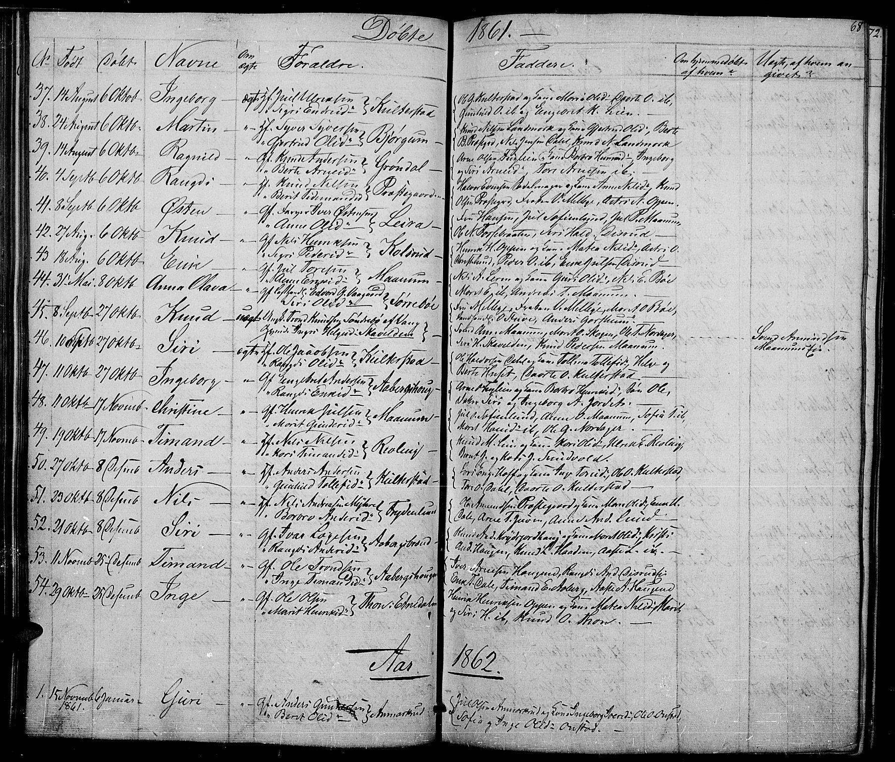 SAH, Nord-Aurdal prestekontor, Klokkerbok nr. 2, 1842-1877, s. 68