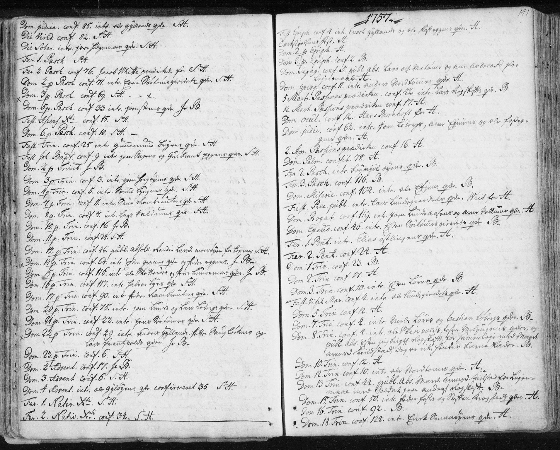 SAT, Ministerialprotokoller, klokkerbøker og fødselsregistre - Sør-Trøndelag, 687/L0991: Ministerialbok nr. 687A02, 1747-1790, s. 141