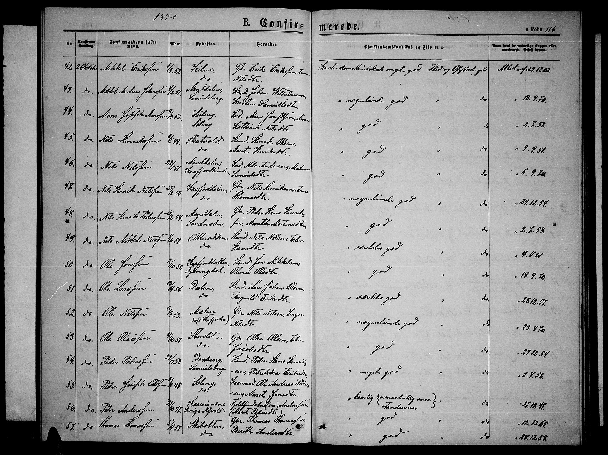 SATØ, Lyngen sokneprestembete, Klokkerbok nr. 4, 1868-1878, s. 156