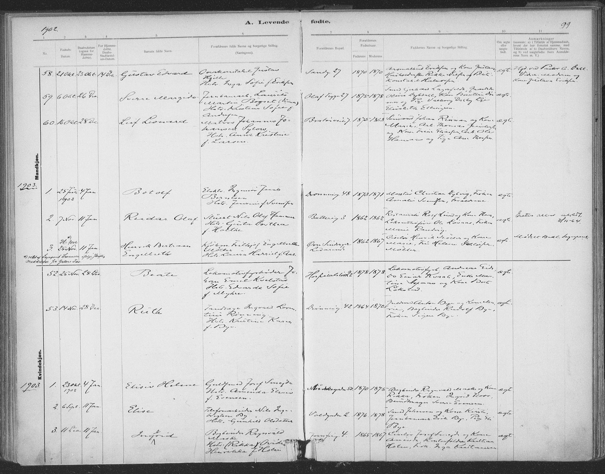 SAT, Ministerialprotokoller, klokkerbøker og fødselsregistre - Sør-Trøndelag, 602/L0122: Ministerialbok nr. 602A20, 1892-1908, s. 99