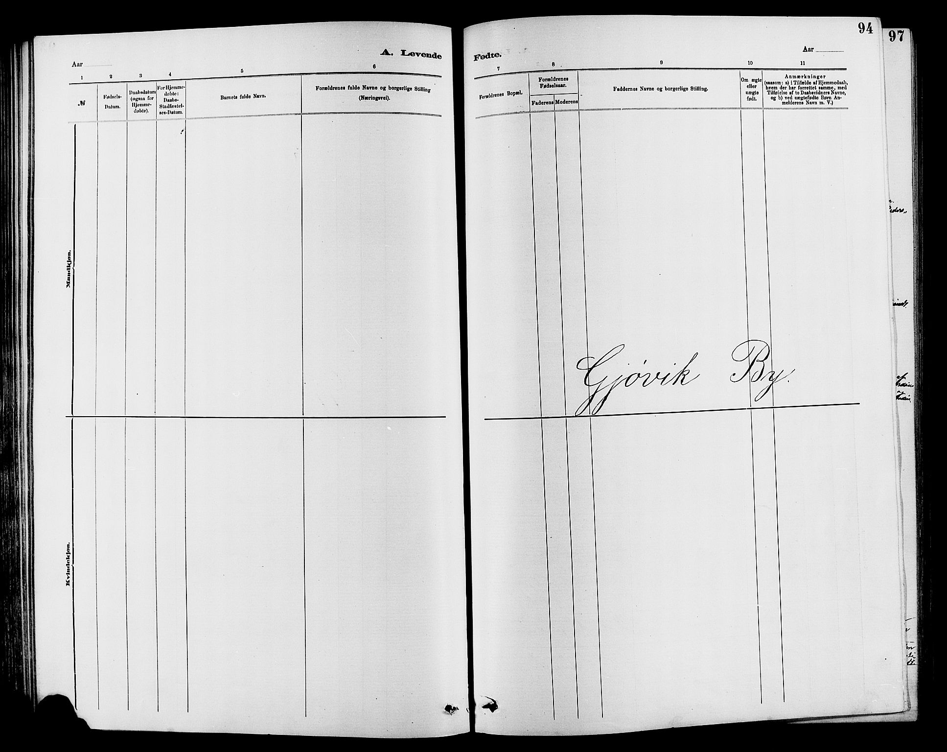 SAH, Vardal prestekontor, H/Ha/Hab/L0007: Klokkerbok nr. 7 /2, 1881-1895, s. 94