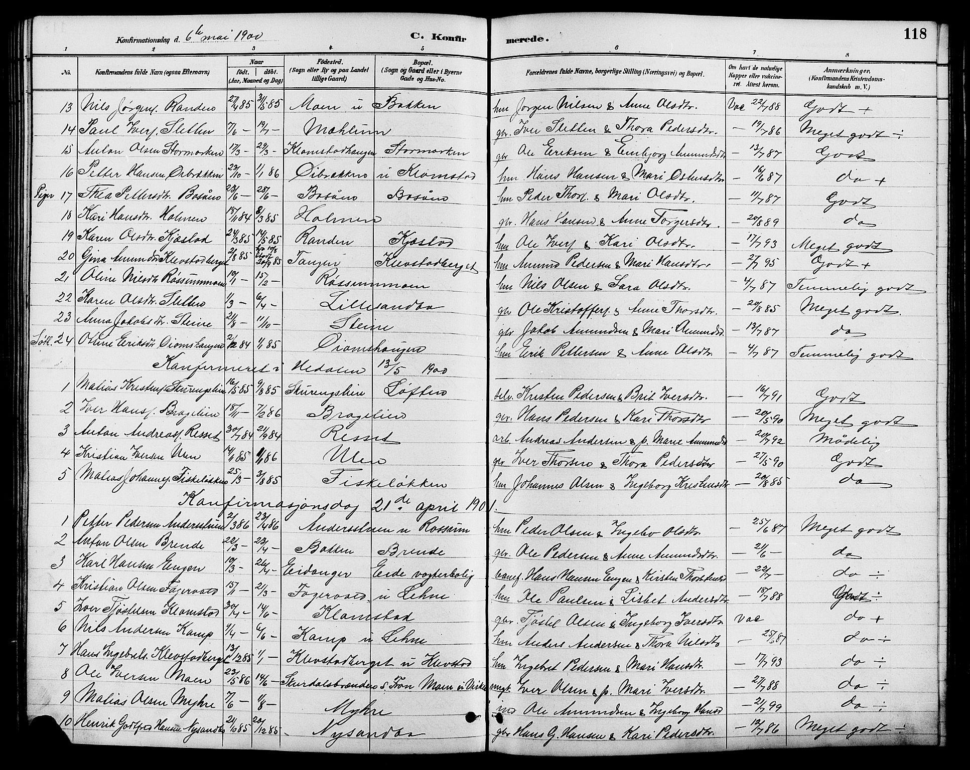 SAH, Nord-Fron prestekontor, Klokkerbok nr. 6, 1887-1914, s. 118