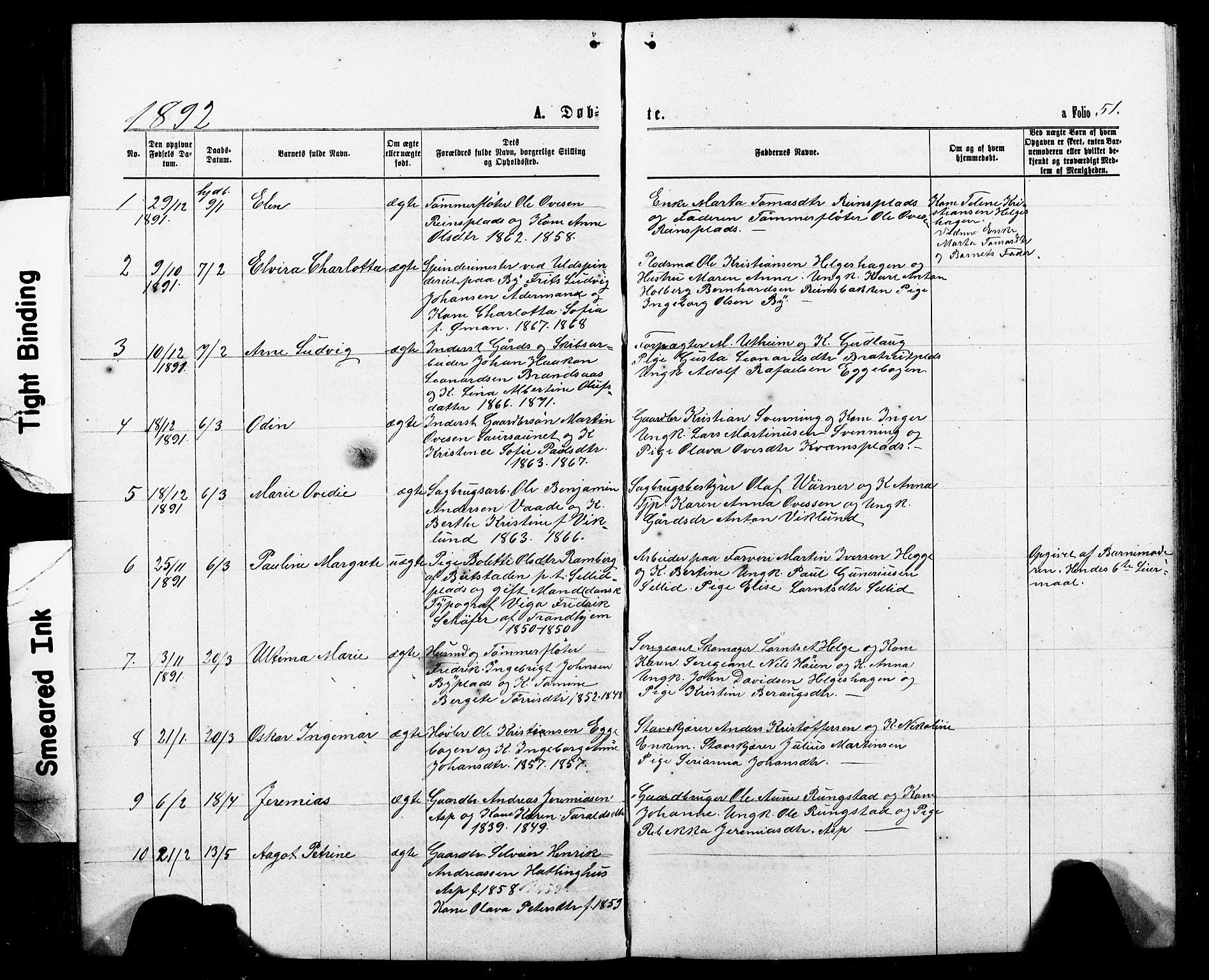 SAT, Ministerialprotokoller, klokkerbøker og fødselsregistre - Nord-Trøndelag, 740/L0380: Klokkerbok nr. 740C01, 1868-1902, s. 51