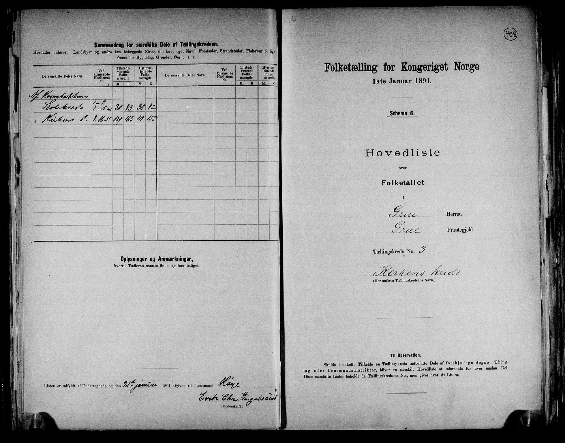 RA, Folketelling 1891 for 0423 Grue herred, 1891, s. 12