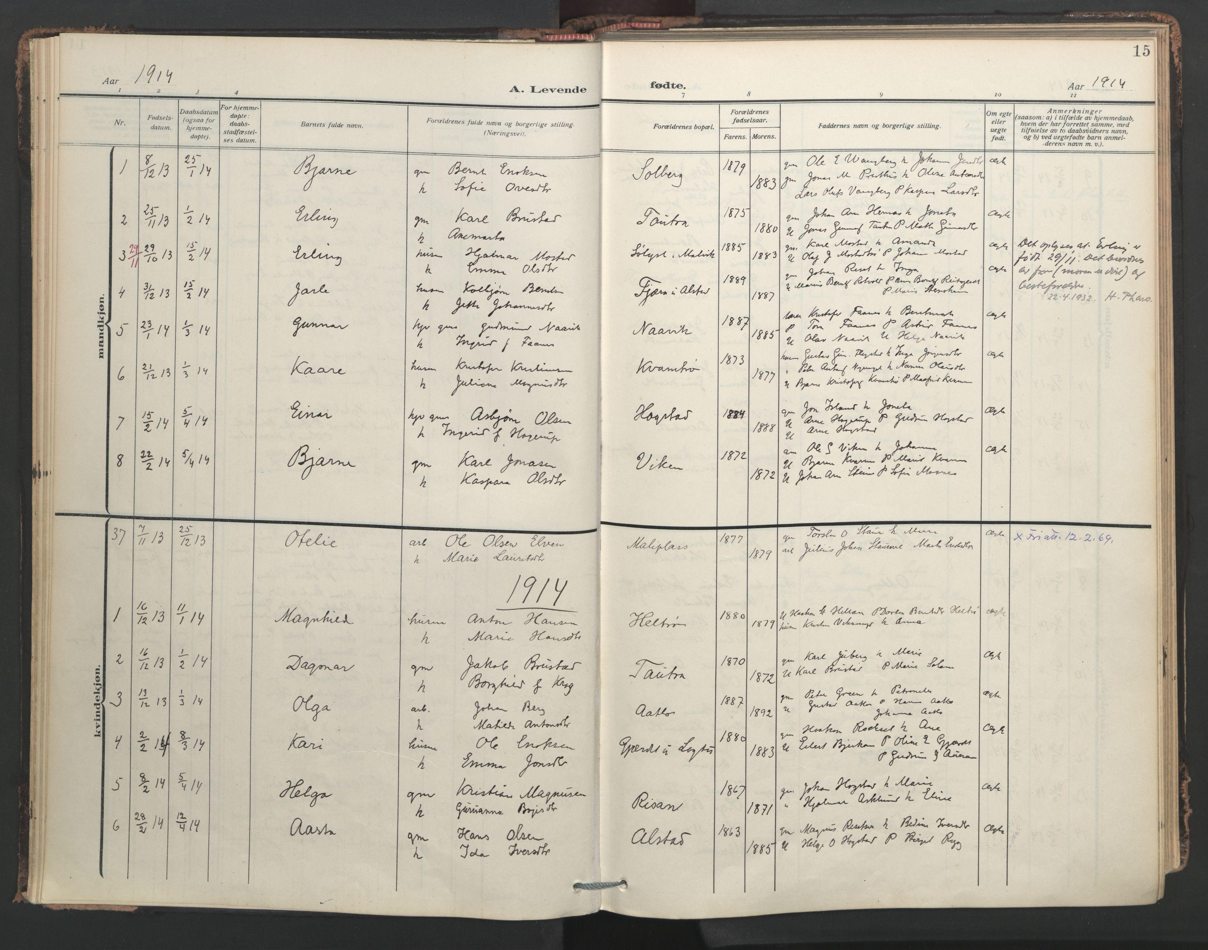 SAT, Ministerialprotokoller, klokkerbøker og fødselsregistre - Nord-Trøndelag, 713/L0123: Ministerialbok nr. 713A12, 1911-1925, s. 15