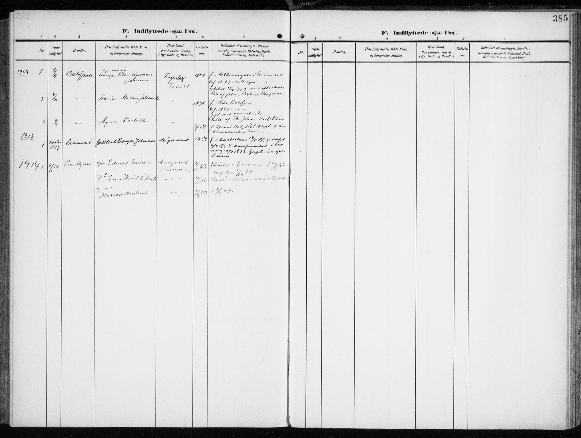 SATØ, Tromsøysund sokneprestkontor, G/Ga/L0007kirke: Ministerialbok nr. 7, 1907-1914, s. 385