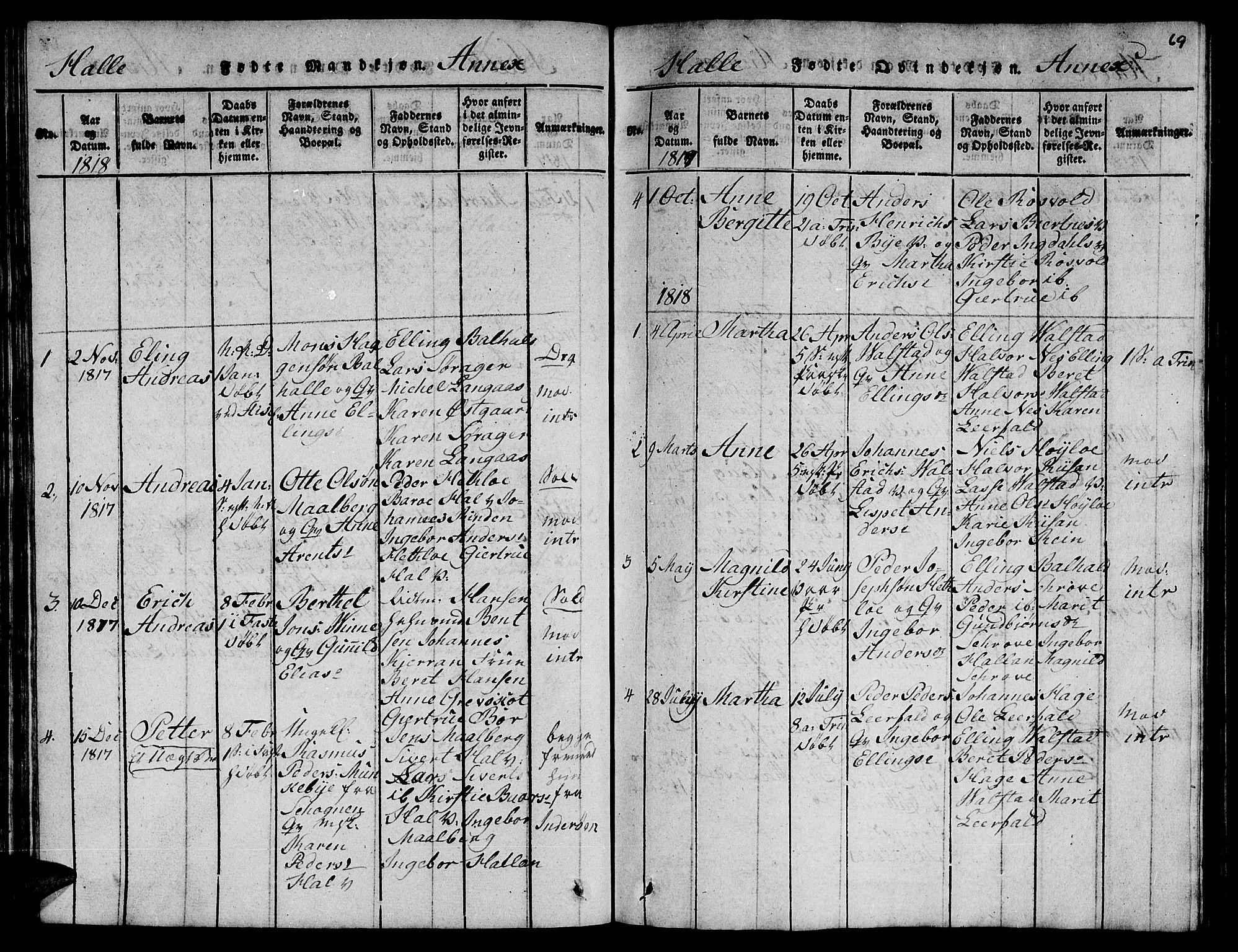 SAT, Ministerialprotokoller, klokkerbøker og fødselsregistre - Nord-Trøndelag, 723/L0251: Klokkerbok nr. 723C01 /3, 1817-1821, s. 69