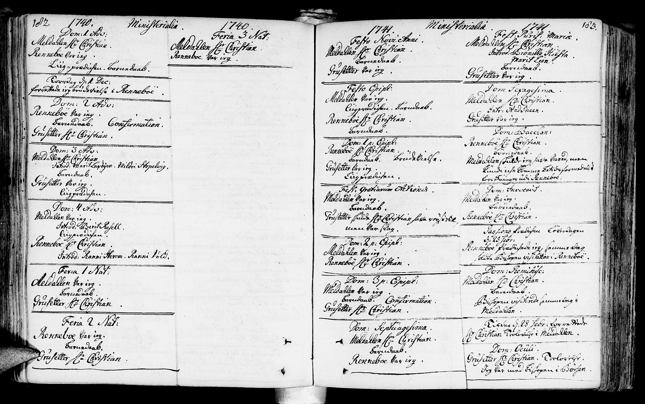 SAT, Ministerialprotokoller, klokkerbøker og fødselsregistre - Sør-Trøndelag, 672/L0850: Ministerialbok nr. 672A03, 1725-1751, s. 182-183