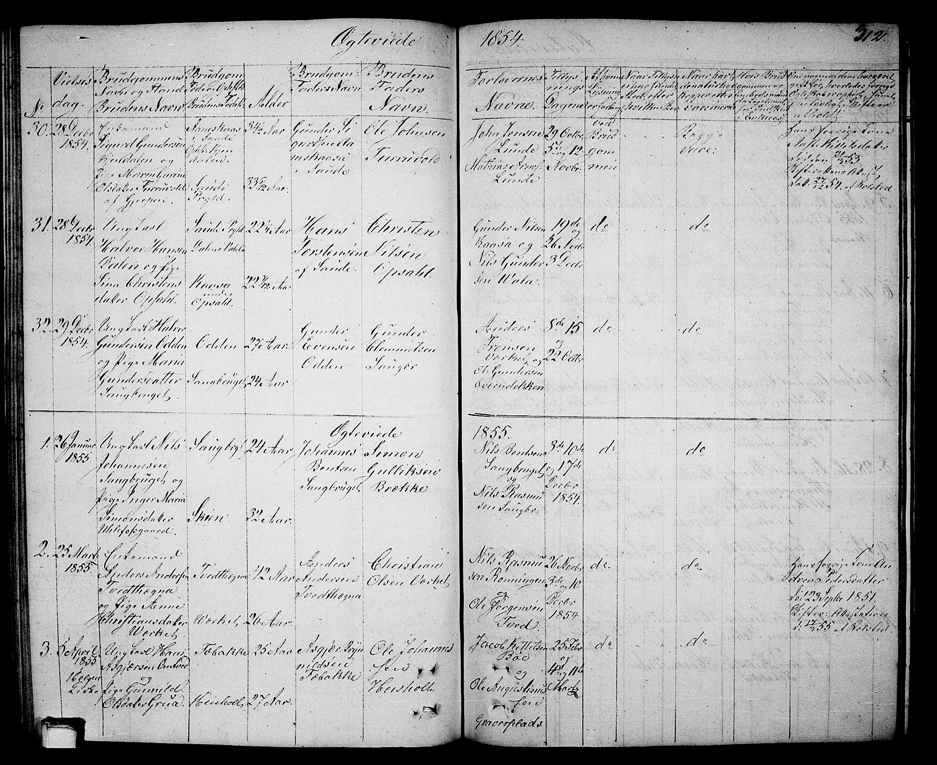 SAKO, Holla kirkebøker, G/Ga/L0003: Klokkerbok nr. I 3, 1849-1866, s. 312