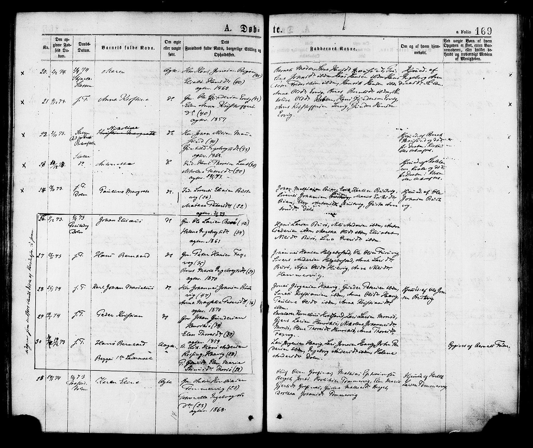 SAT, Ministerialprotokoller, klokkerbøker og fødselsregistre - Sør-Trøndelag, 634/L0532: Ministerialbok nr. 634A08, 1871-1881, s. 169