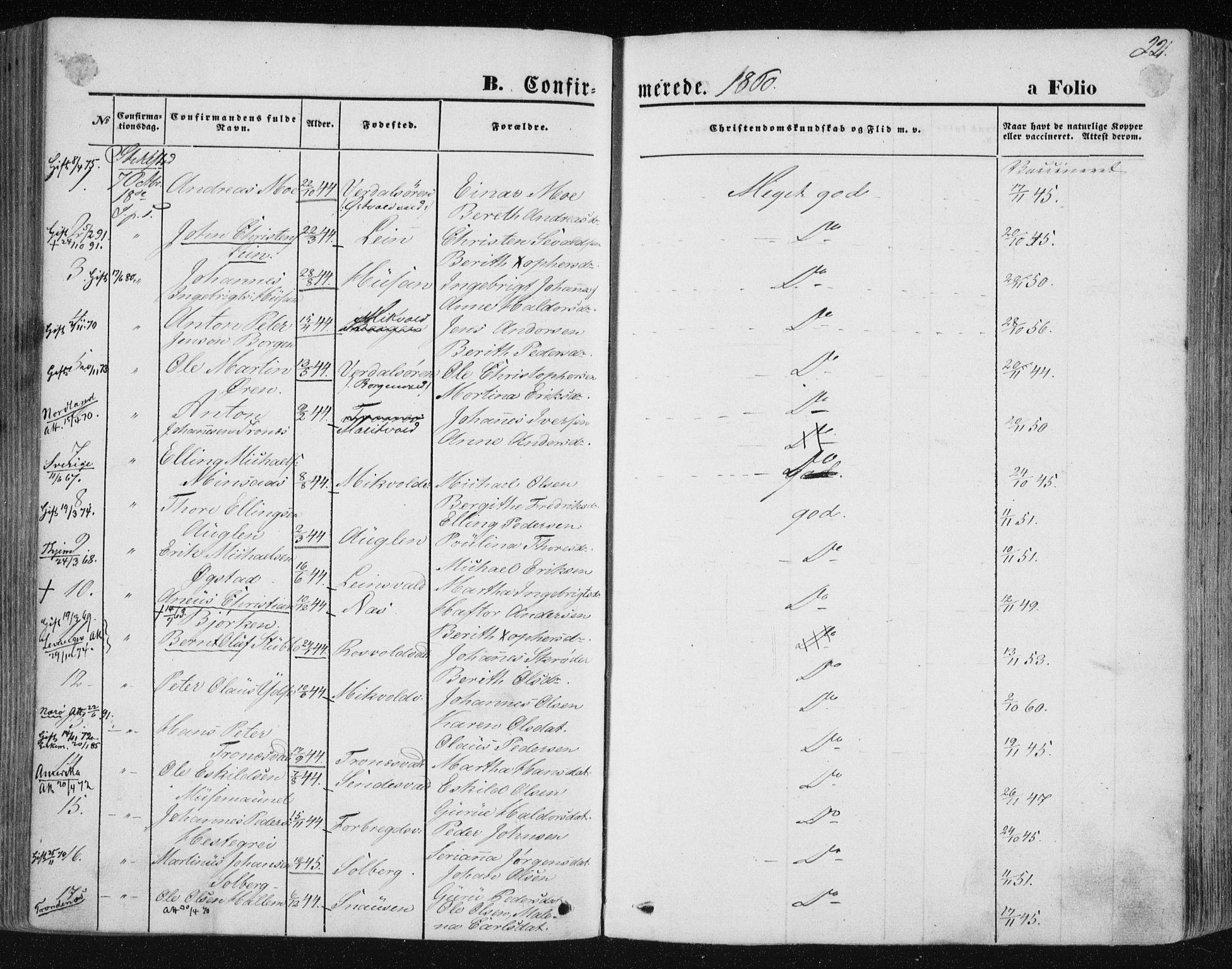 SAT, Ministerialprotokoller, klokkerbøker og fødselsregistre - Nord-Trøndelag, 723/L0241: Ministerialbok nr. 723A10, 1860-1869, s. 221