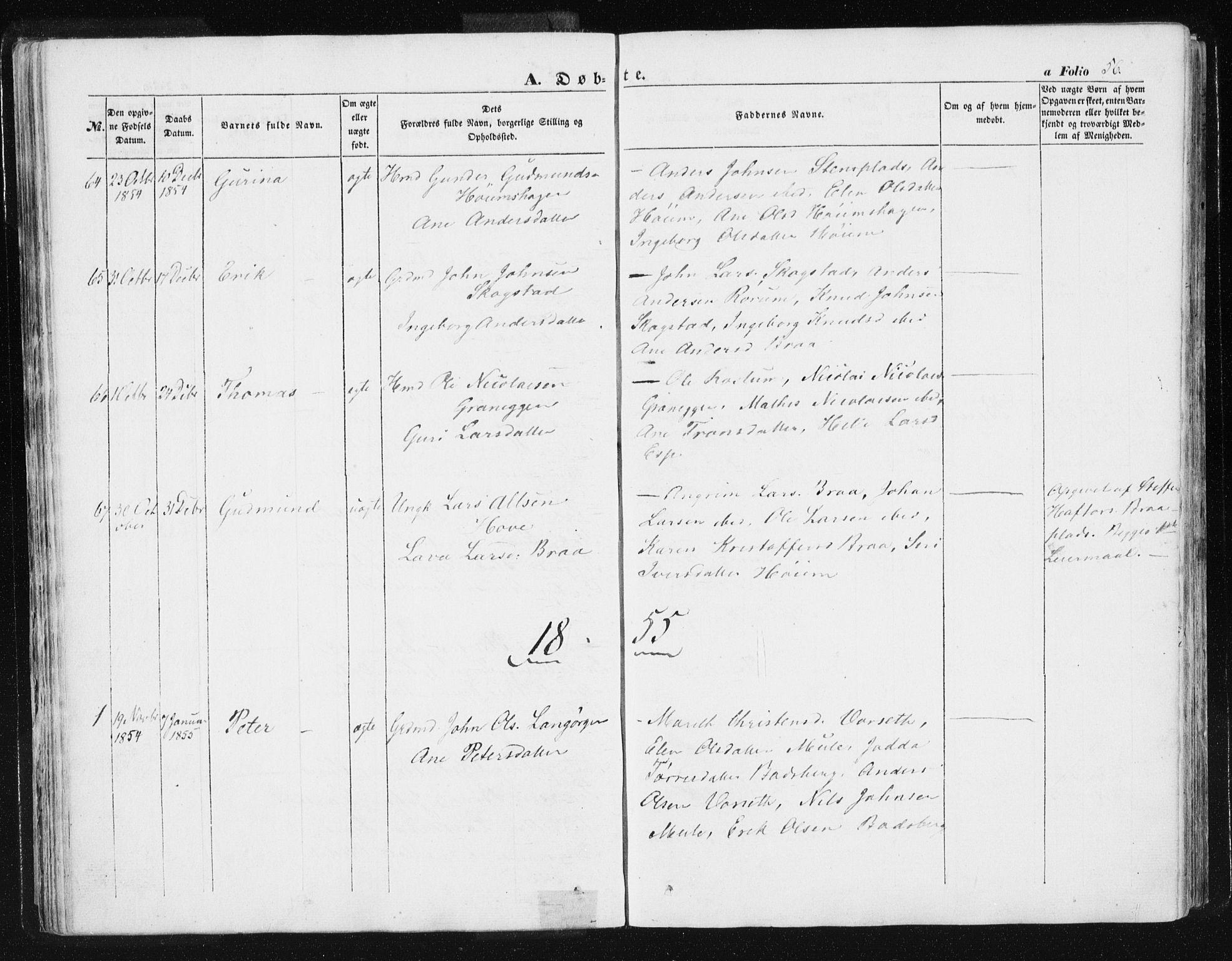 SAT, Ministerialprotokoller, klokkerbøker og fødselsregistre - Sør-Trøndelag, 612/L0376: Ministerialbok nr. 612A08, 1846-1859, s. 56