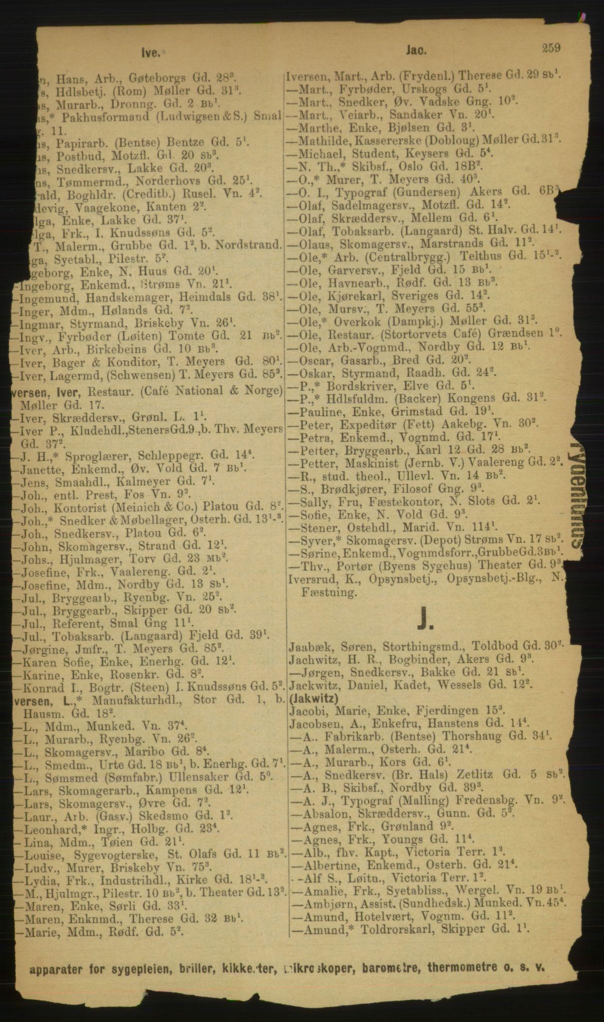 RA, Kristiania adressebok (publikasjon)*, 1889, s. 259